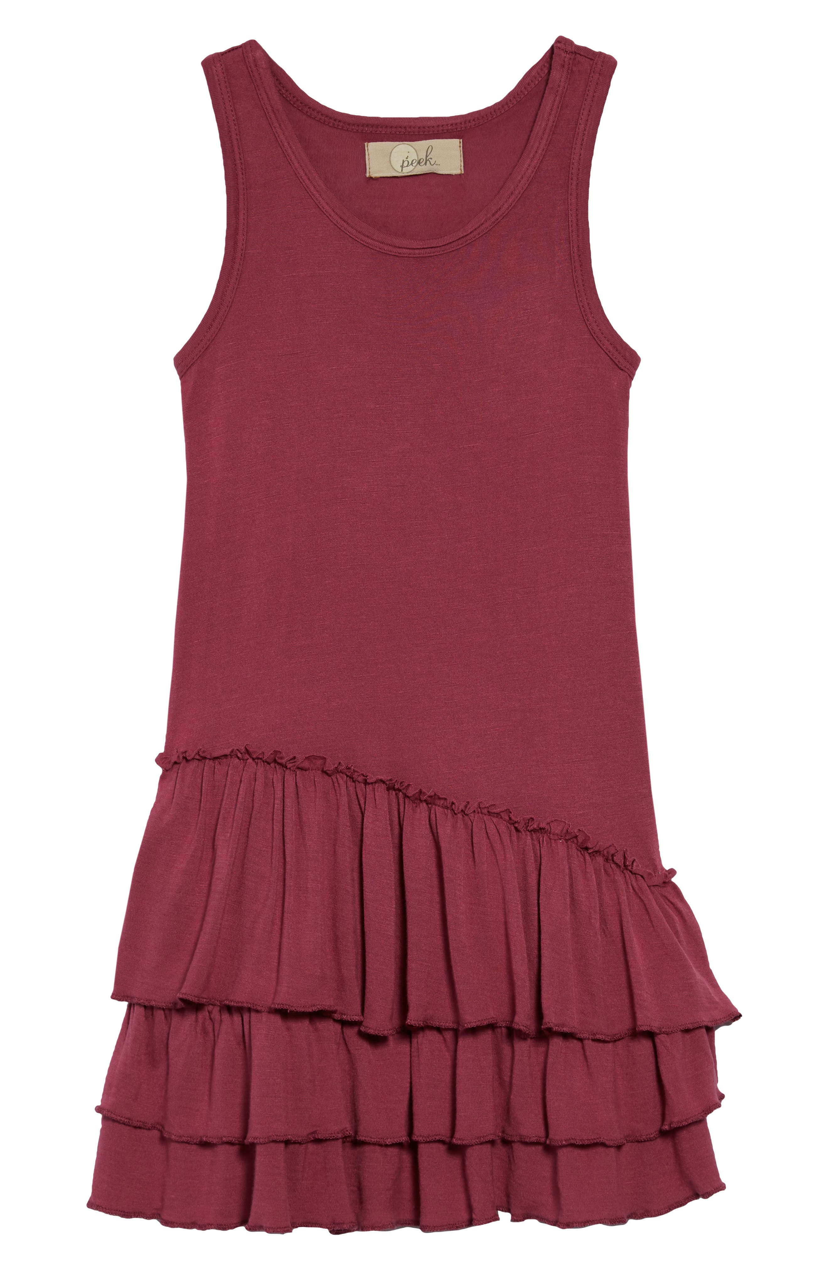 Tiered Tank Dress,                         Main,                         color, Maroon