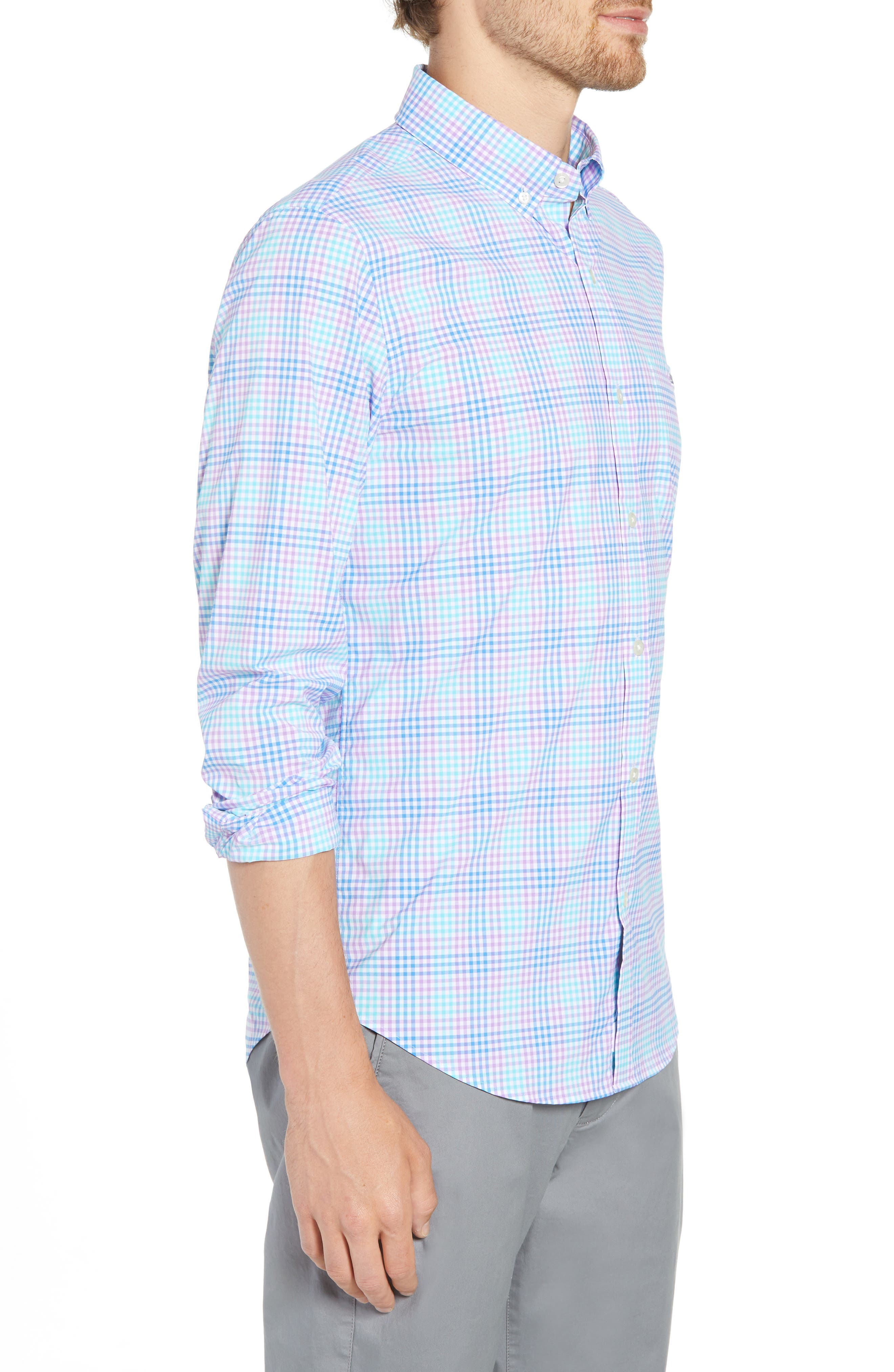 Ridge Hill Slim Fit Check Performance Sport Shirt,                             Alternate thumbnail 4, color,                             Turquoise