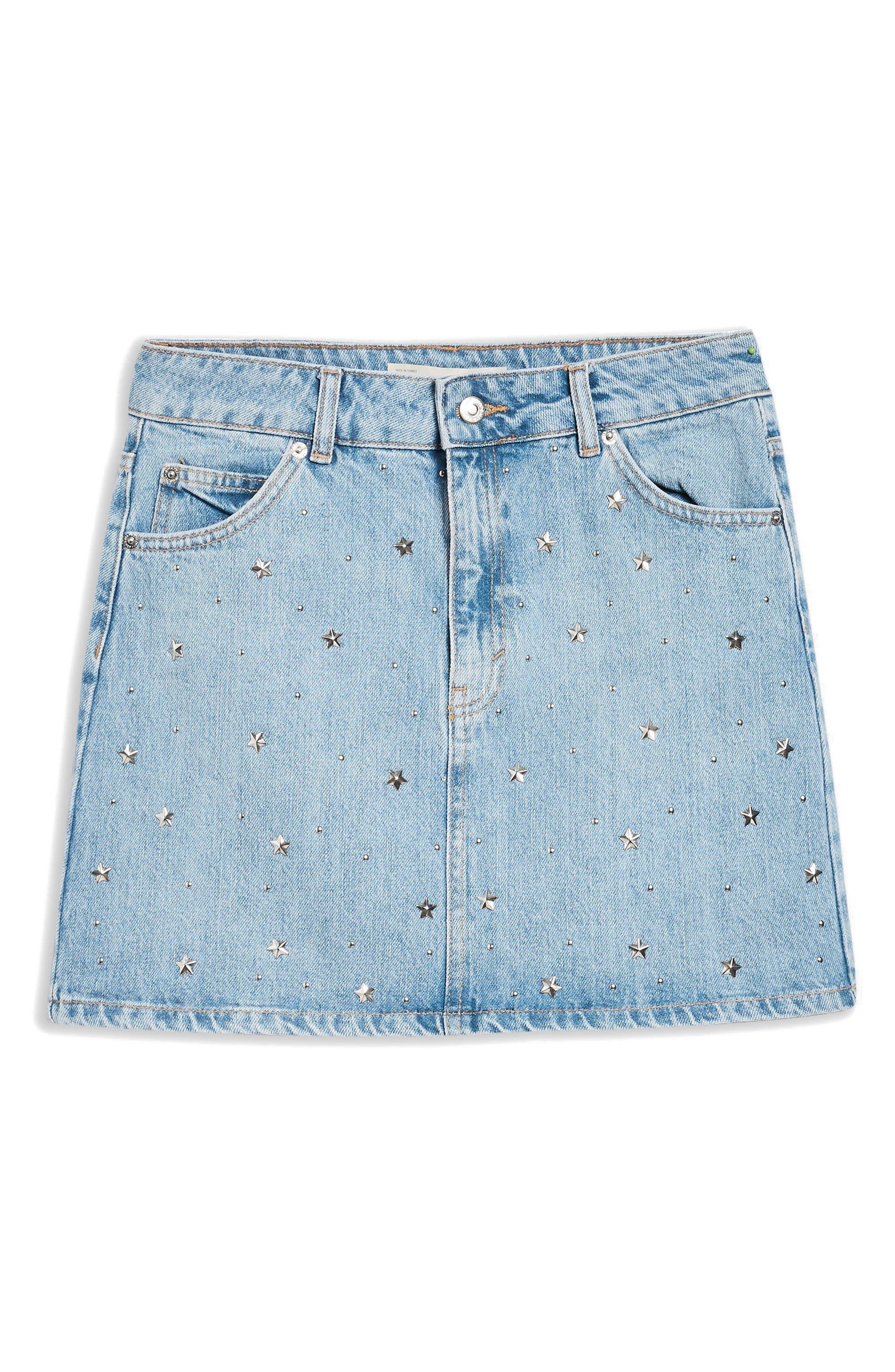 MOTO Star Studded High Waist Skirt,                             Alternate thumbnail 4, color,                             Mid Stone