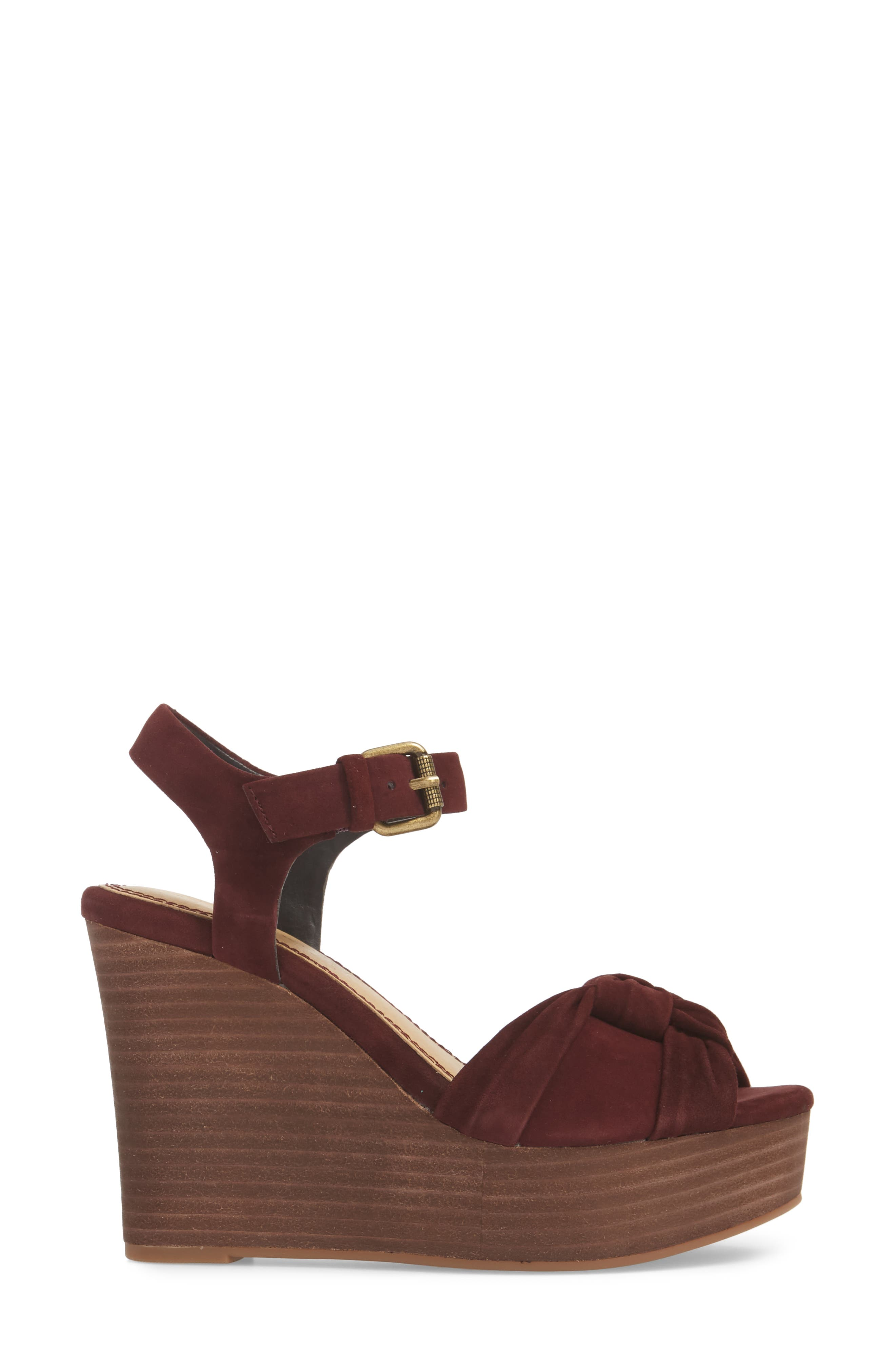 Nada Platform Wedge Sandal,                             Alternate thumbnail 6, color,                             Deep Plum Suede