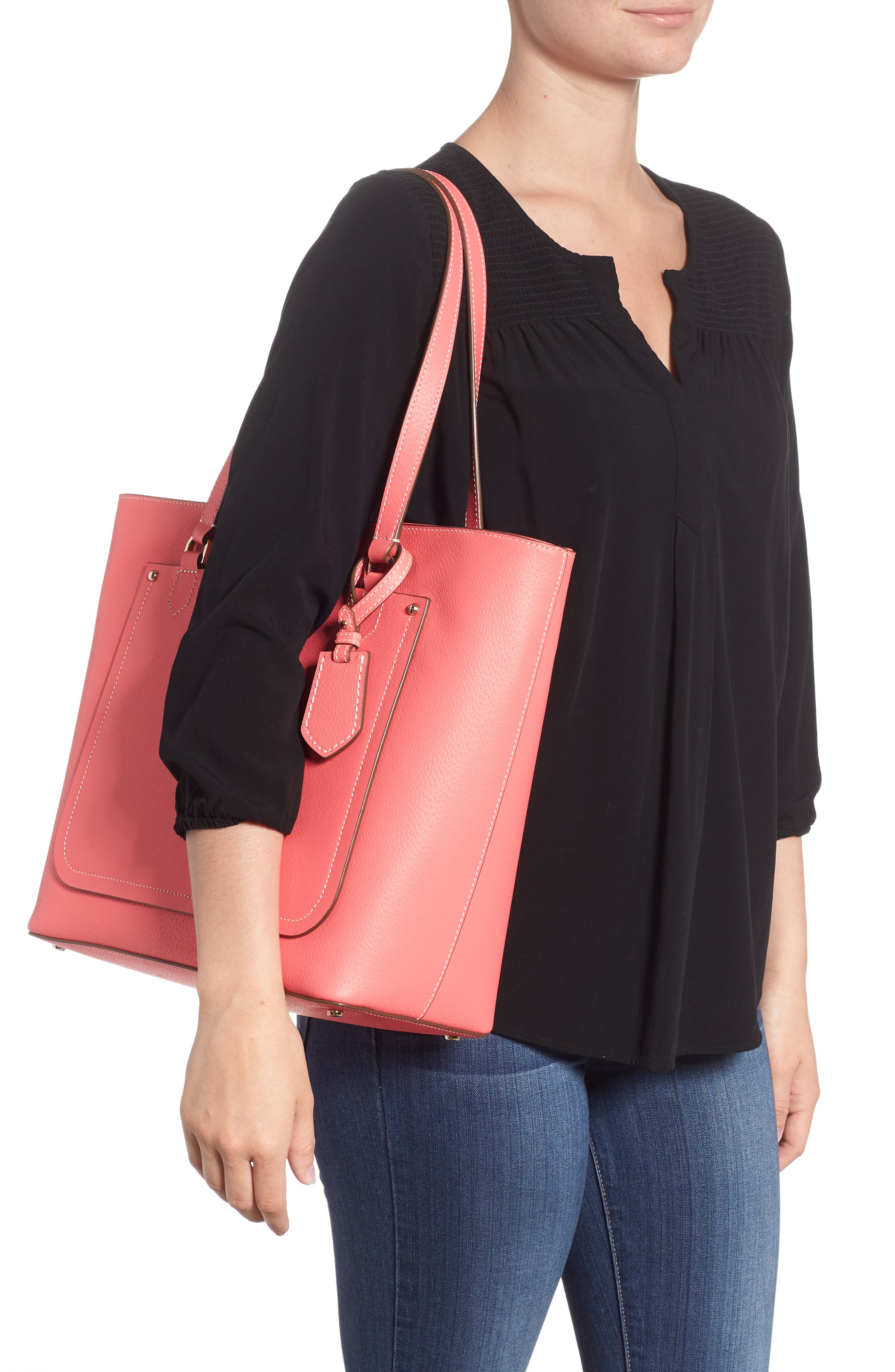 thompson street - kimberly leather tote,                             Alternate thumbnail 2, color,                             Bright Flamingo