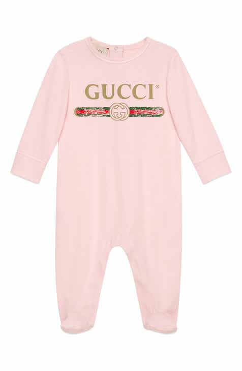 Gucci Logo Cotton Footie (Baby Girls) cec95329fed4