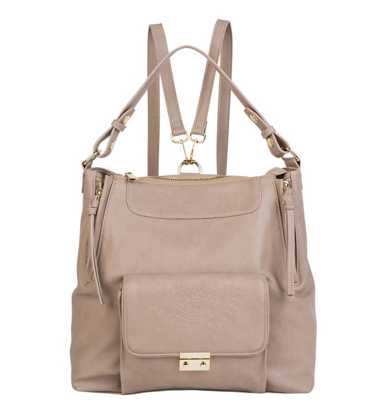 Urban Originals WILD FLOWER VEGAN LEATHER BACKPACK - BEIGE