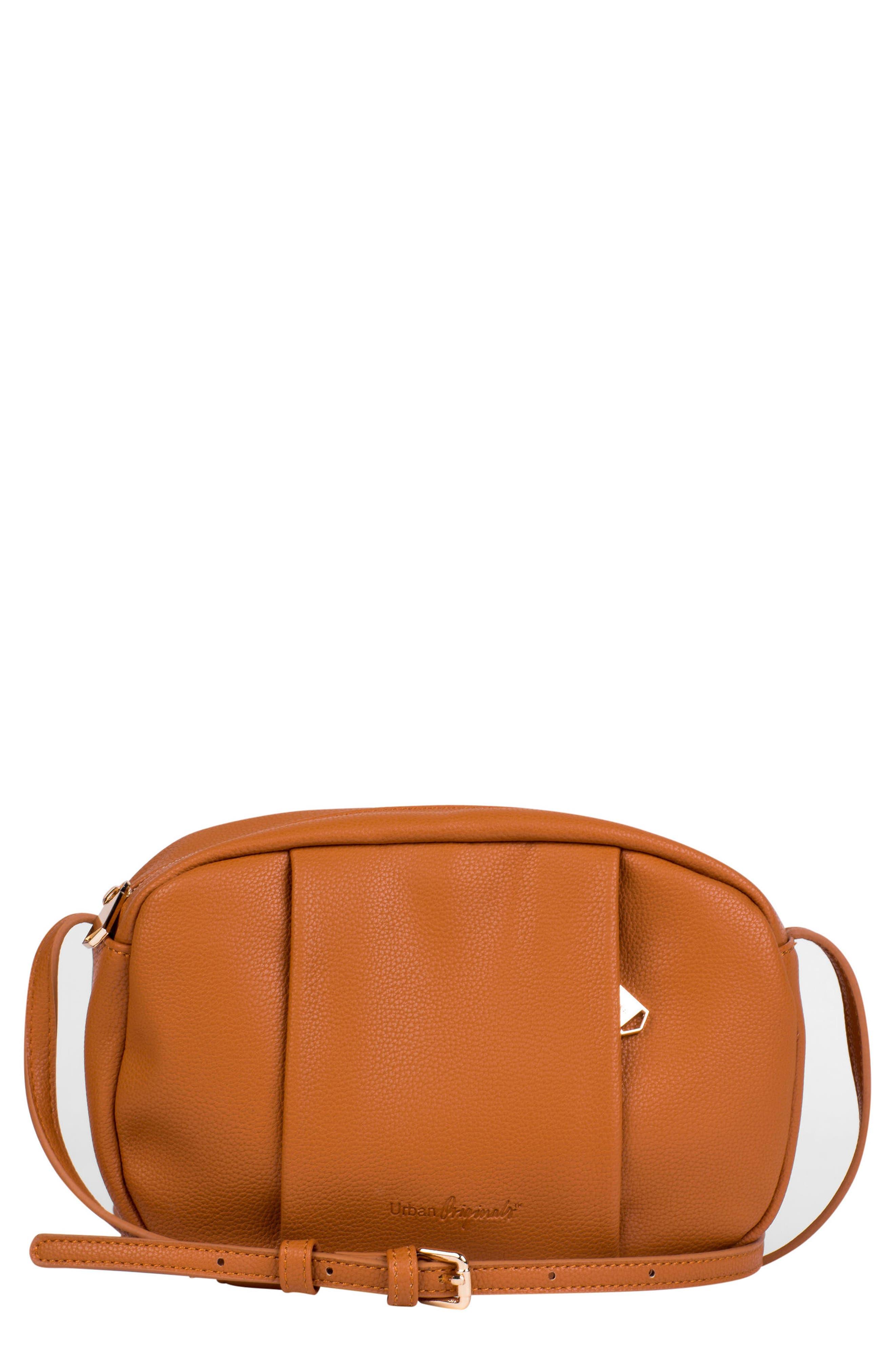 Story Teller Vegan Leather Crossbody Bag,                         Main,                         color, Tan