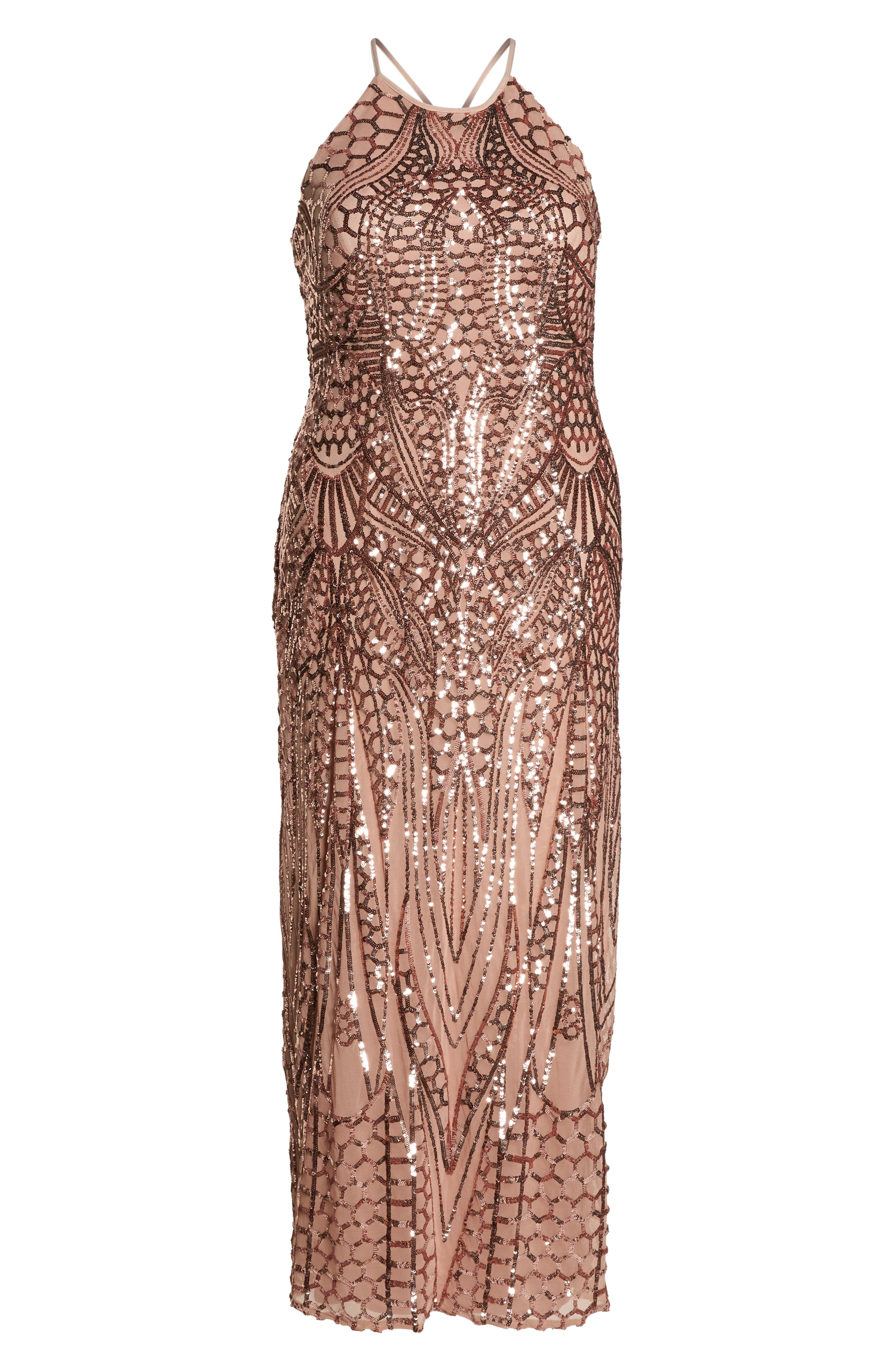 X-Back Sequin Mesh Gown,                             Alternate thumbnail 7, color,                             Rosegold