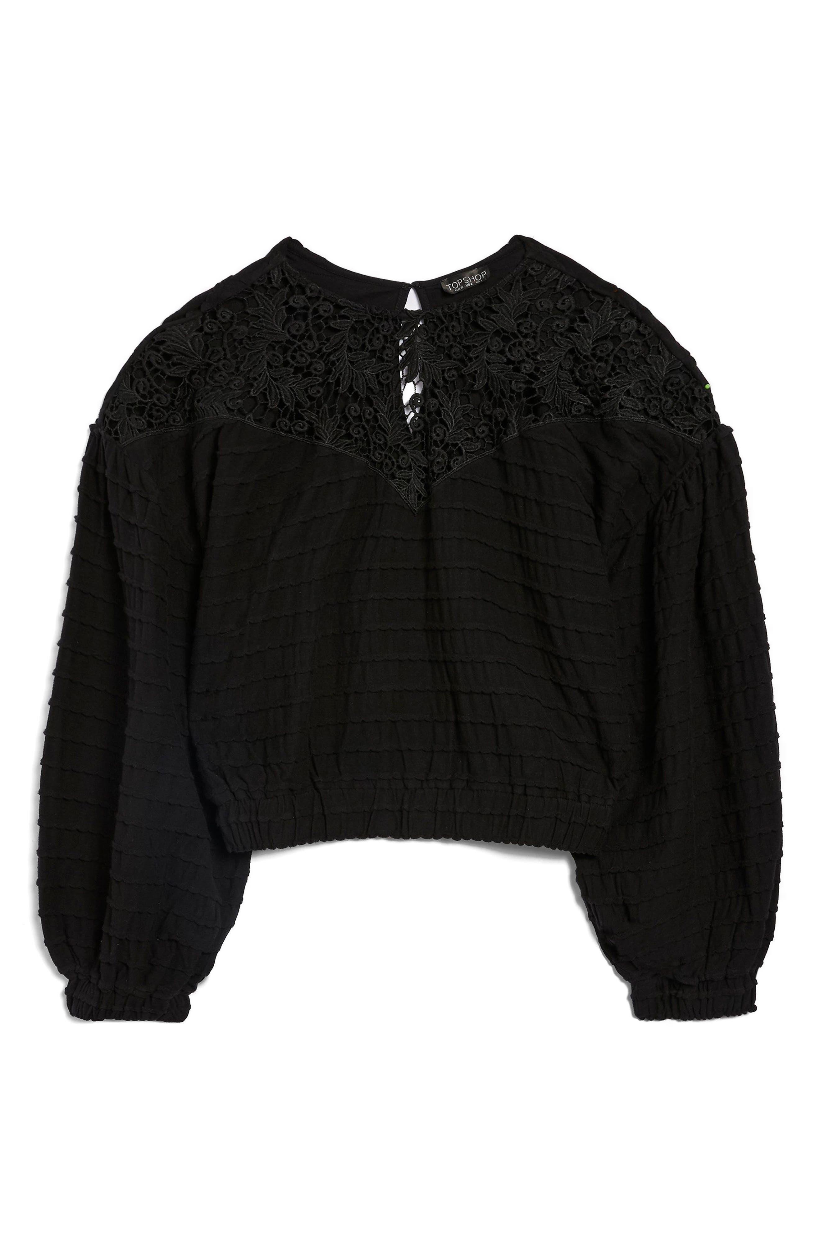 Crochet Inset Top,                             Alternate thumbnail 4, color,                             Black