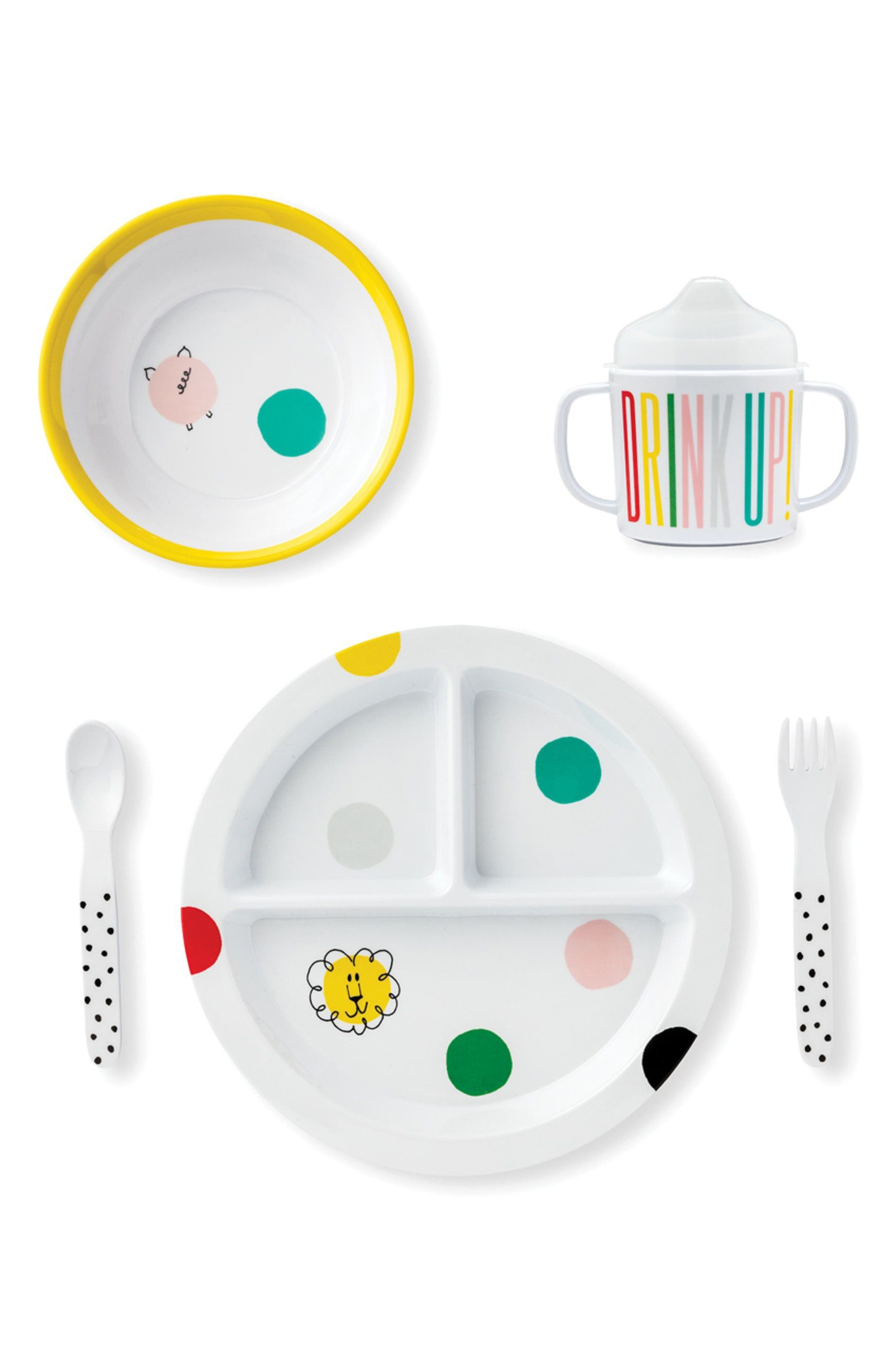 hey baby melamine 5-piece dining set,                             Main thumbnail 1, color,                             Multi