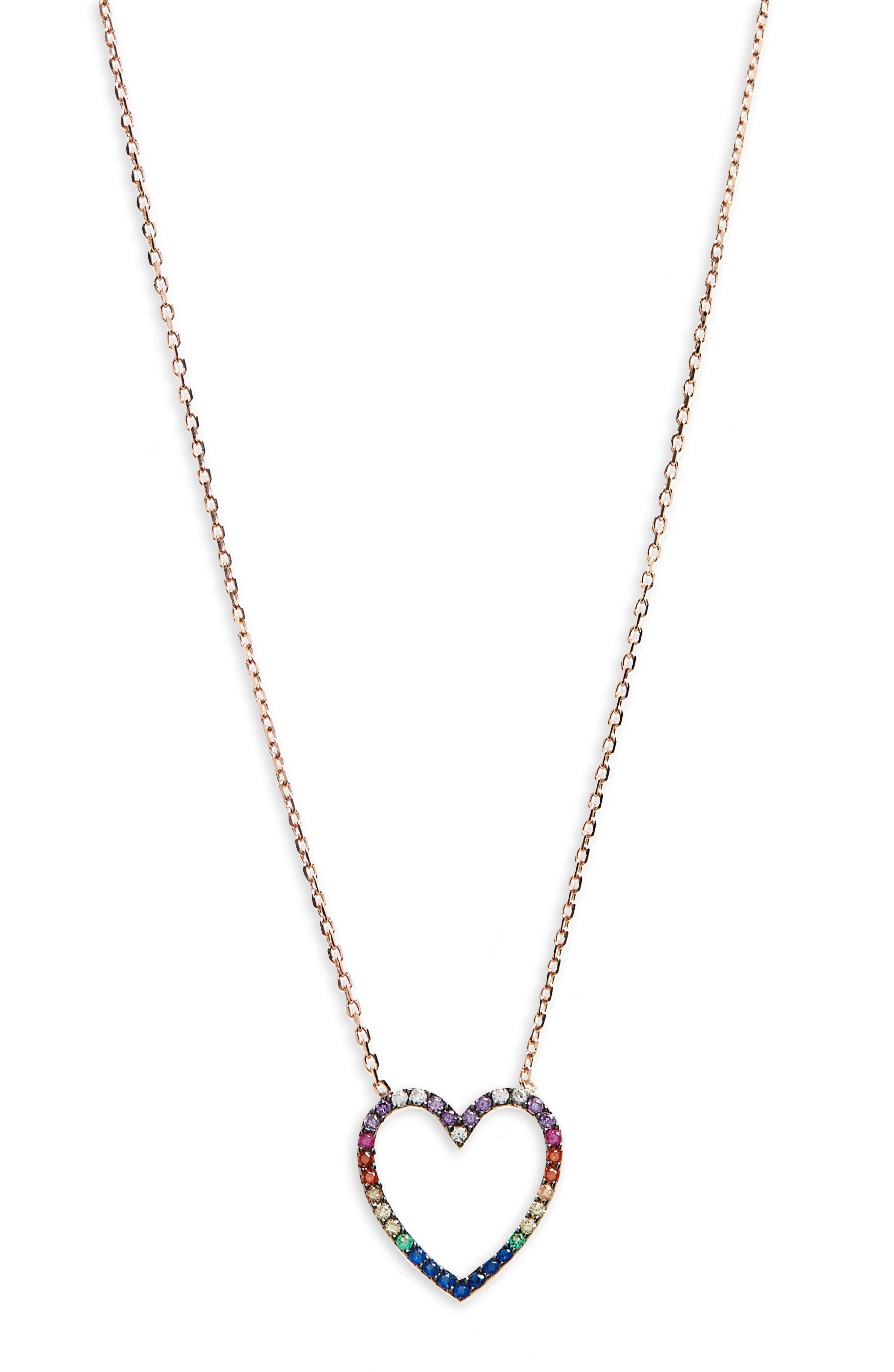 Rainbow Heart Pendant Necklace,                             Main thumbnail 1, color,                             Rose Gold/ Multi