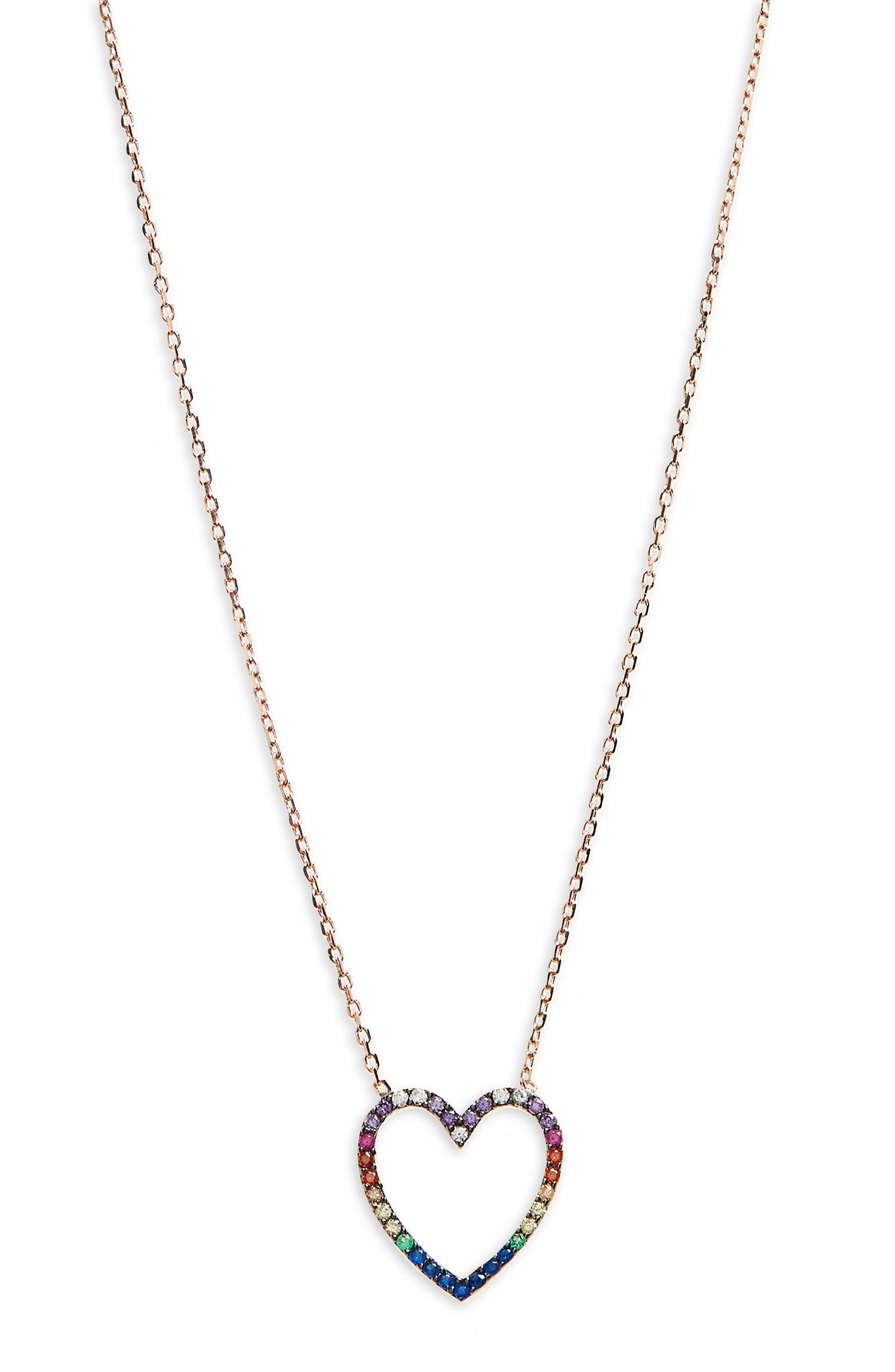 Rainbow Heart Pendant Necklace,                         Main,                         color, Rose Gold/ Multi