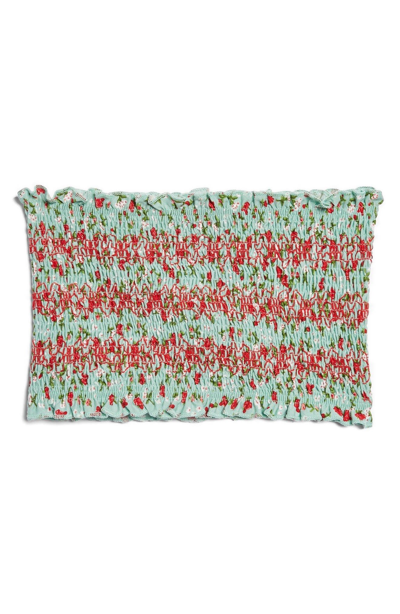 Floral Print Tube Top,                             Alternate thumbnail 4, color,                             Green Multi