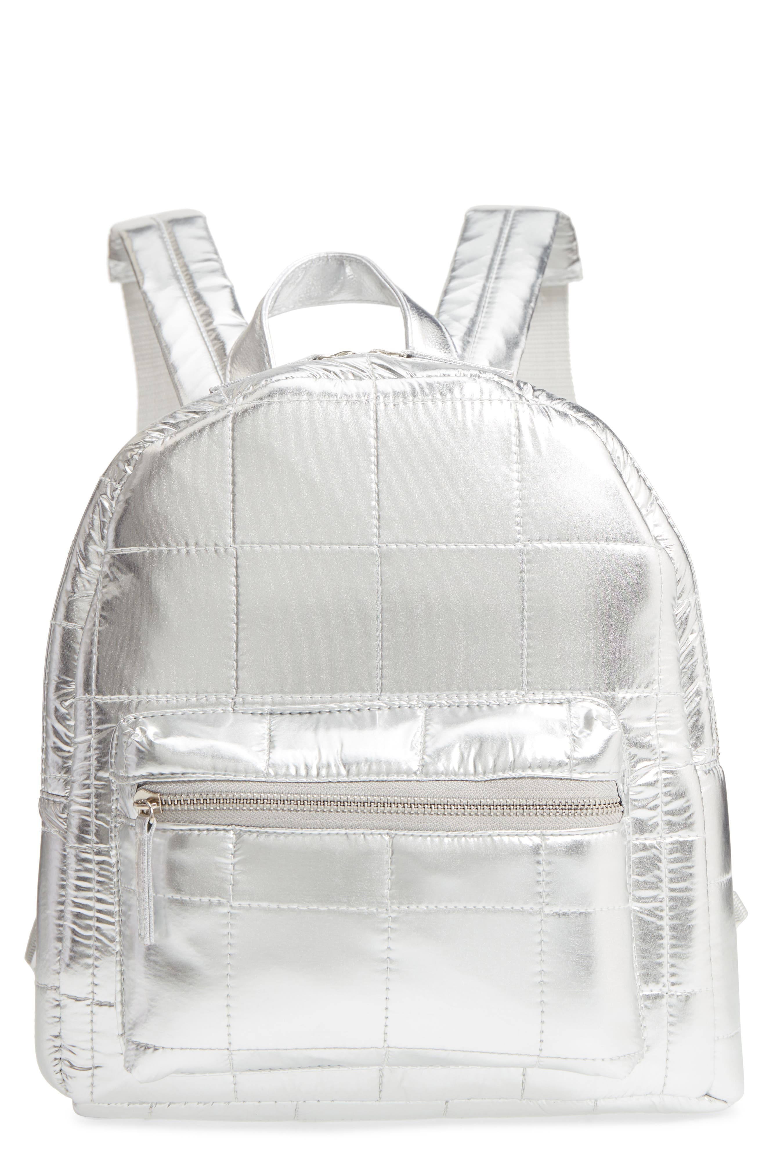 Mini Metallic Puffer Backpack,                             Main thumbnail 1, color,                             Silver