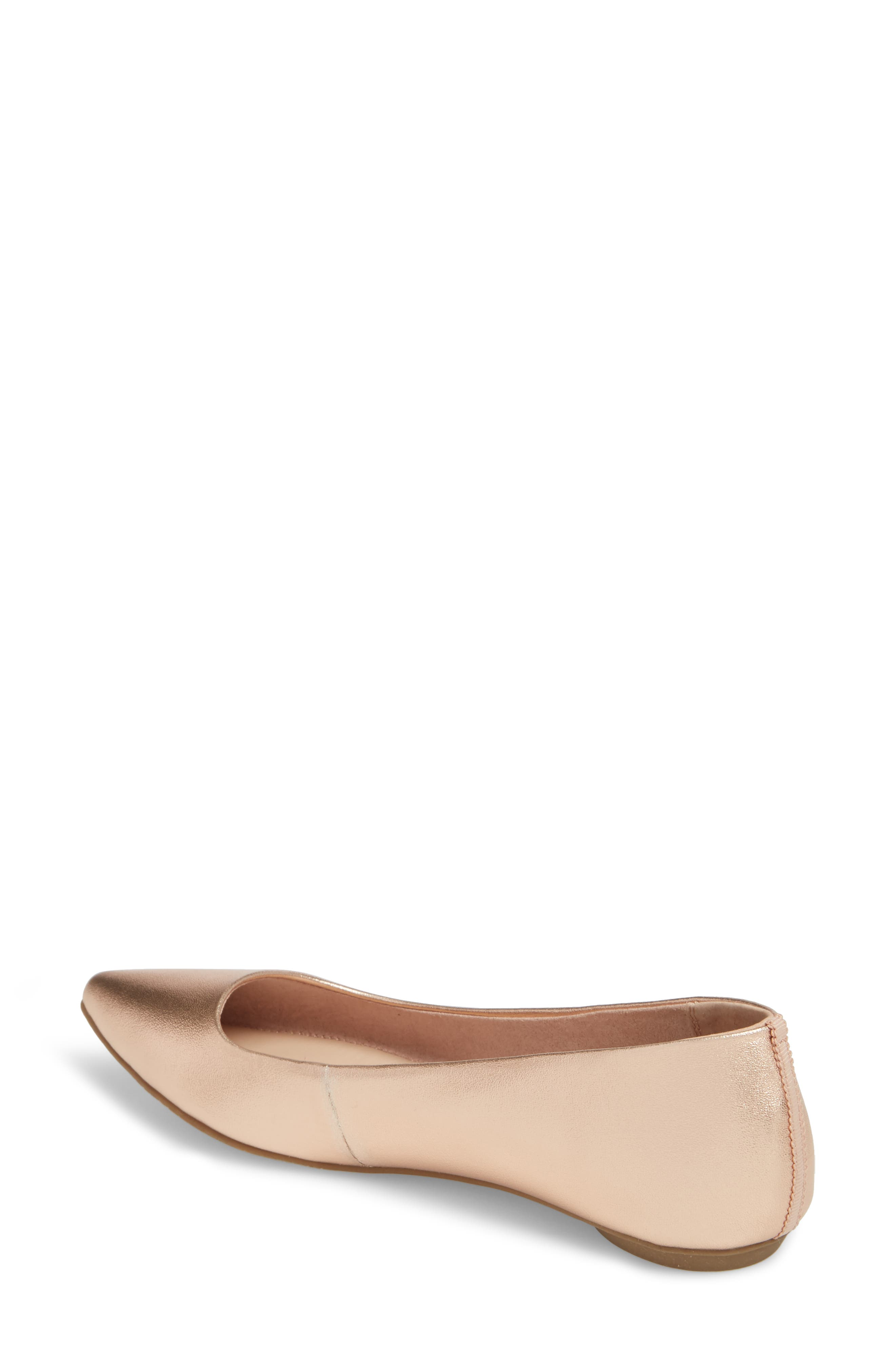 Sasha Flat,                             Alternate thumbnail 2, color,                             Rose Gold Faux Leather