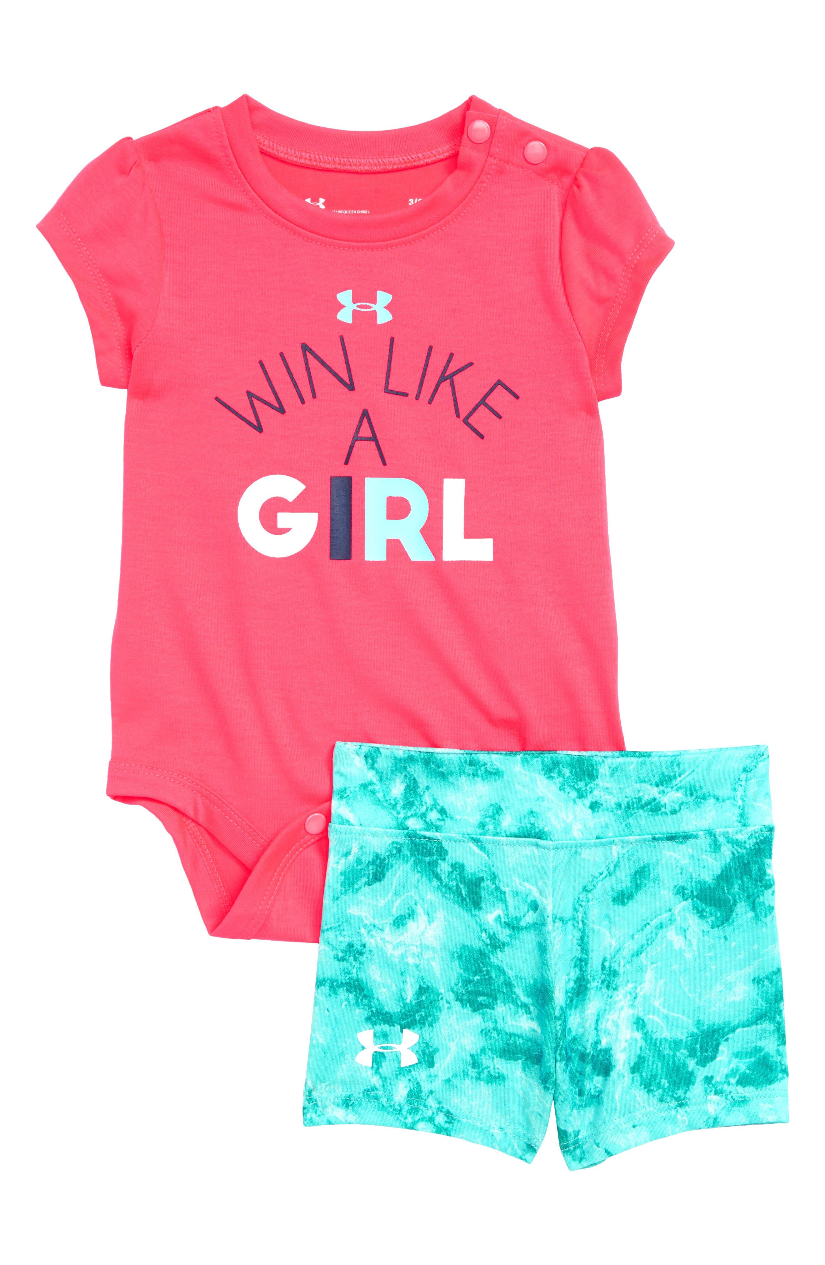 It's Called Girl Power Bodysuit & Shorts Set,                             Main thumbnail 1, color,                             Penta Pink