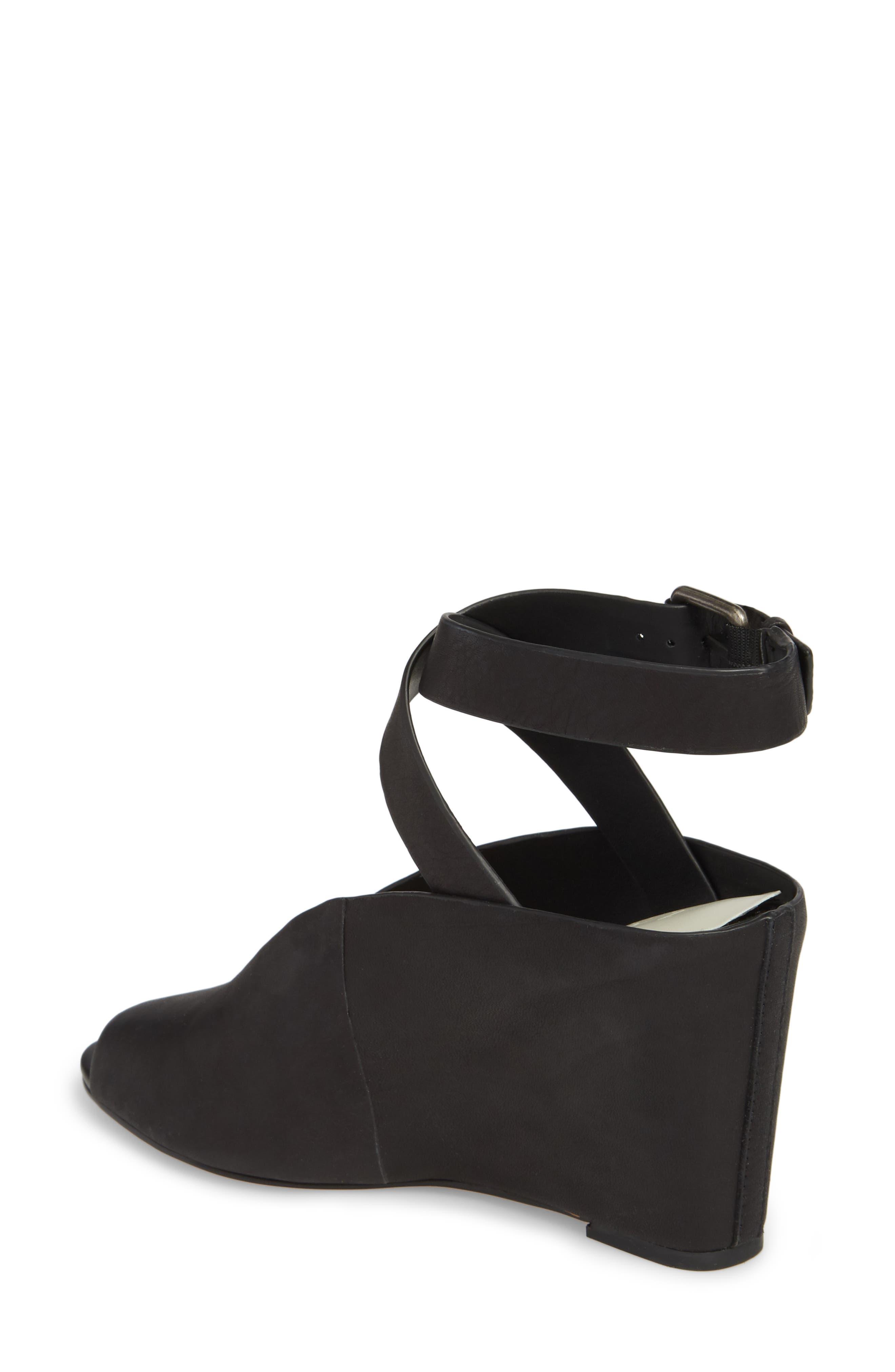 Felidia Wedge Sandal,                             Alternate thumbnail 2, color,                             Black Leather