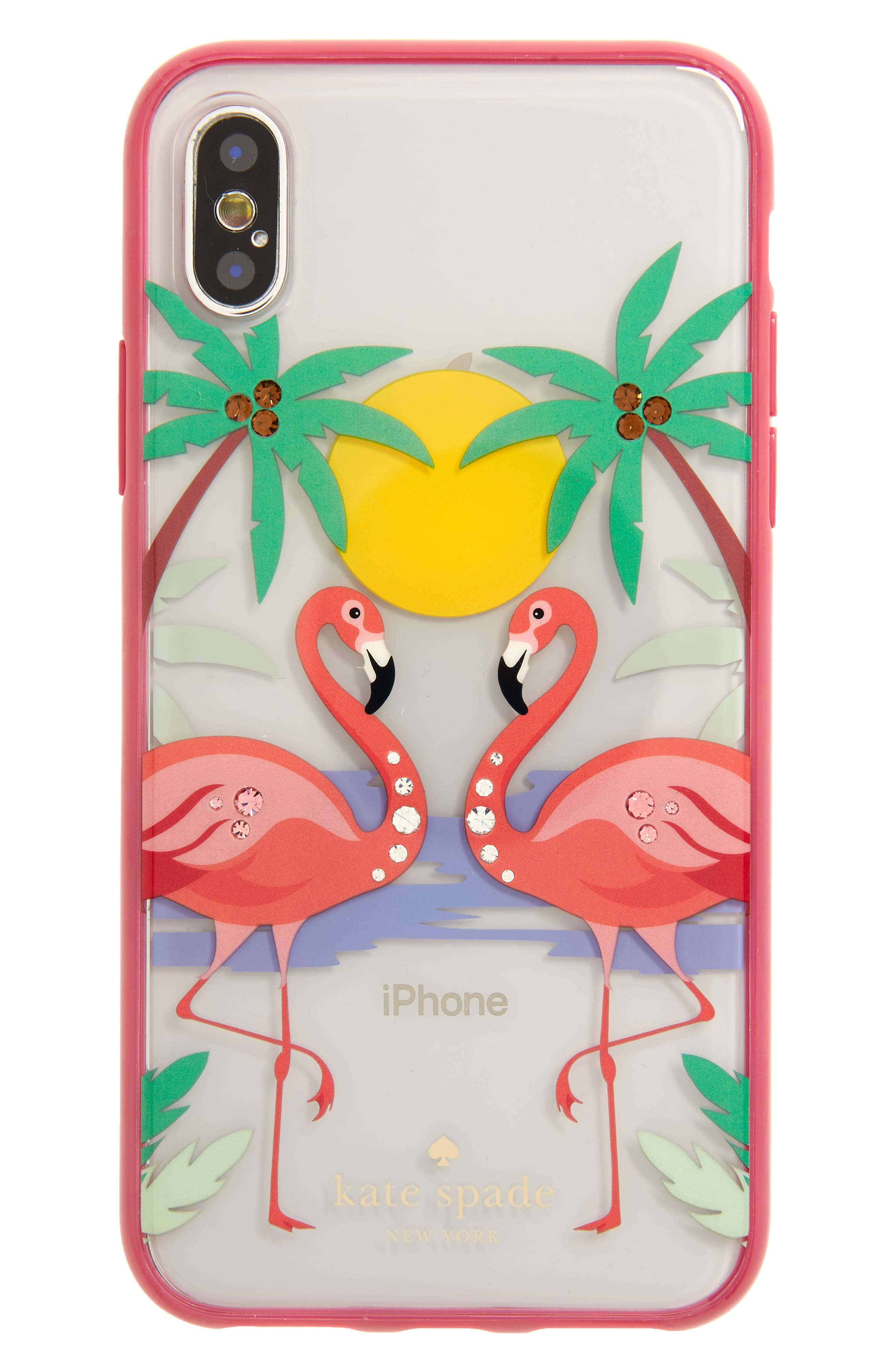 jeweled flamingos iPhone X case,                         Main,                         color, Clear Multi