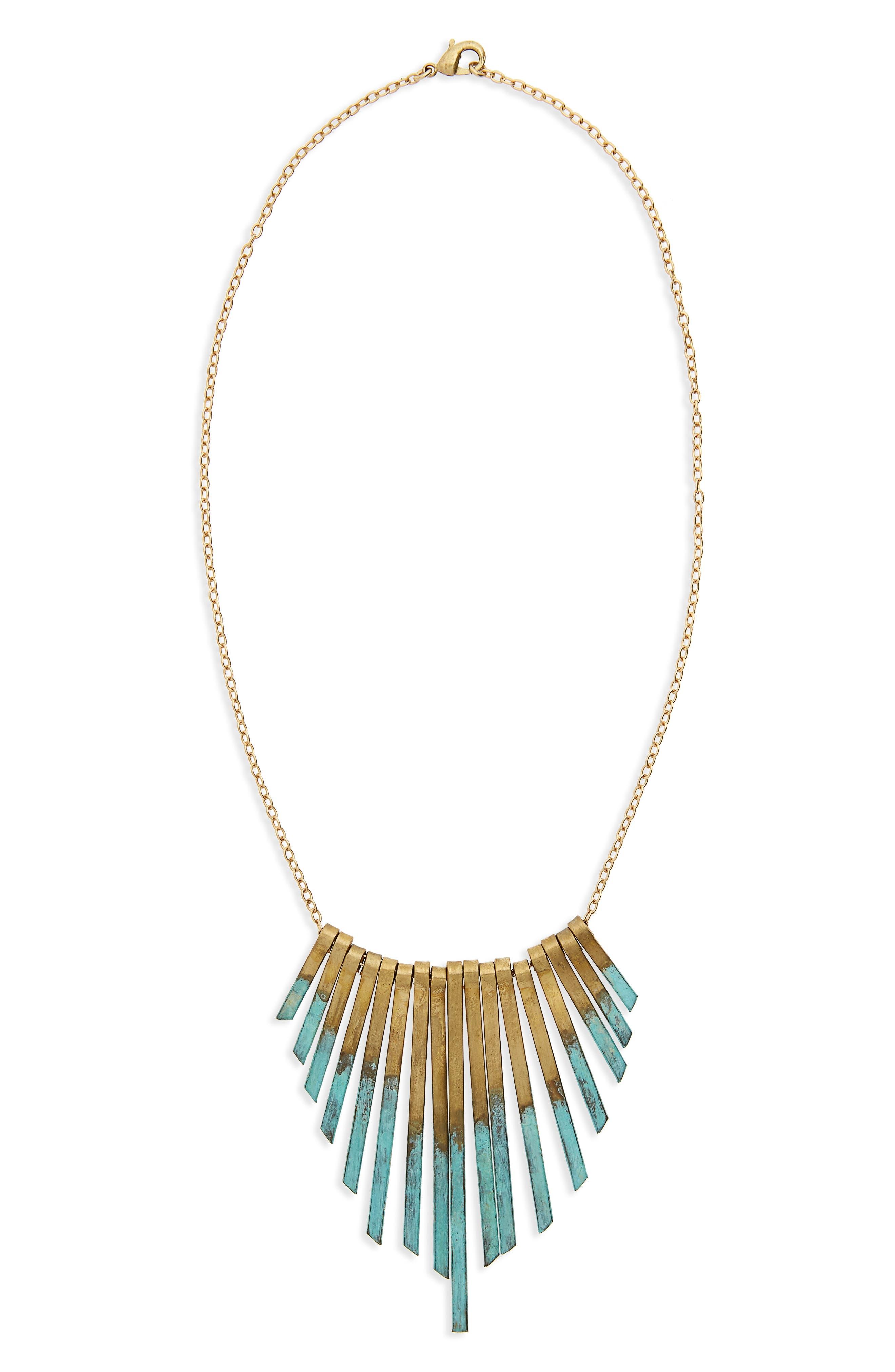 Patina Stick Necklace,                         Main,                         color, Gold/ Multi