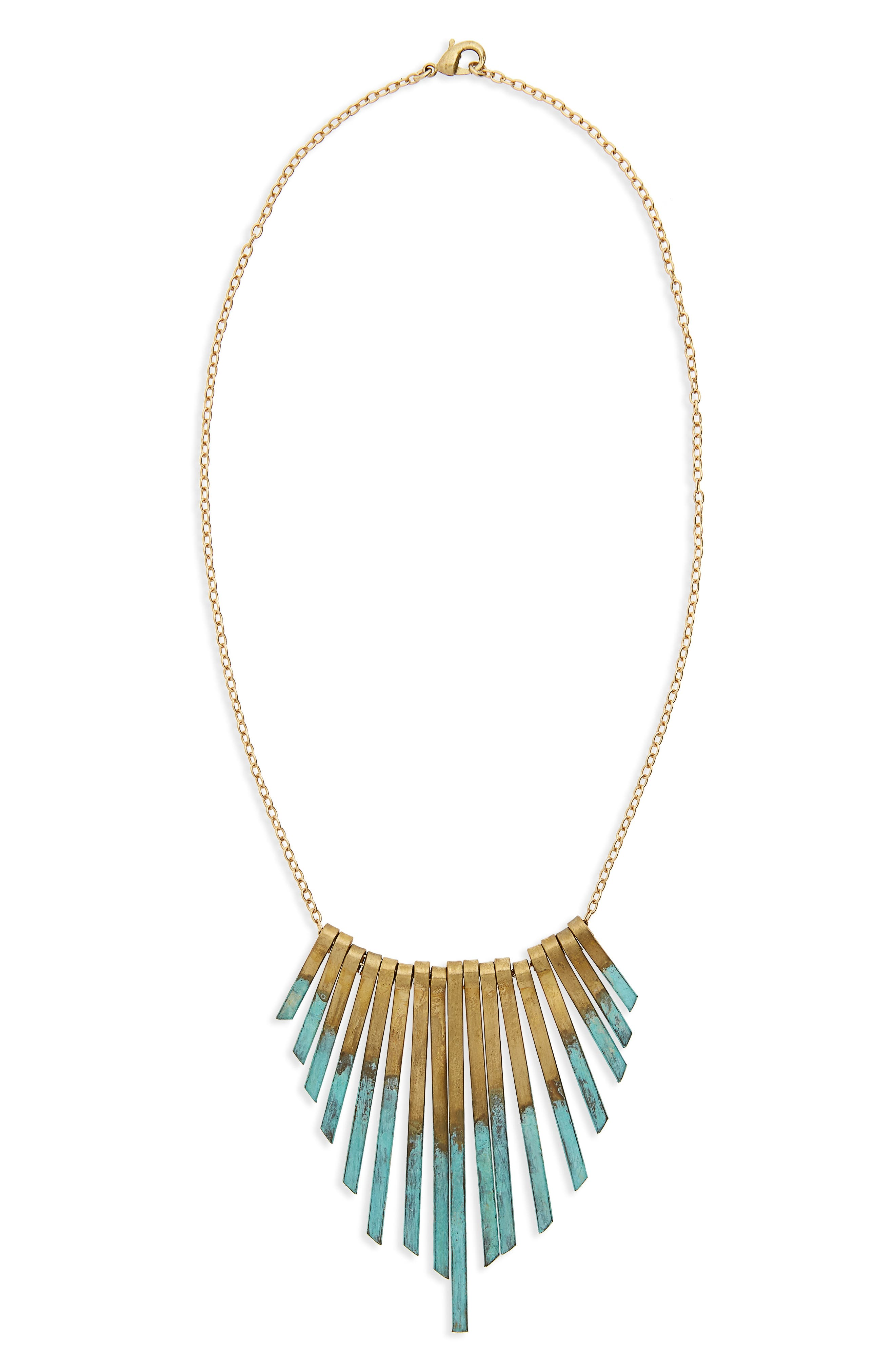 Patina Stick Necklace,                         Main,                         color, Gold/ Multi