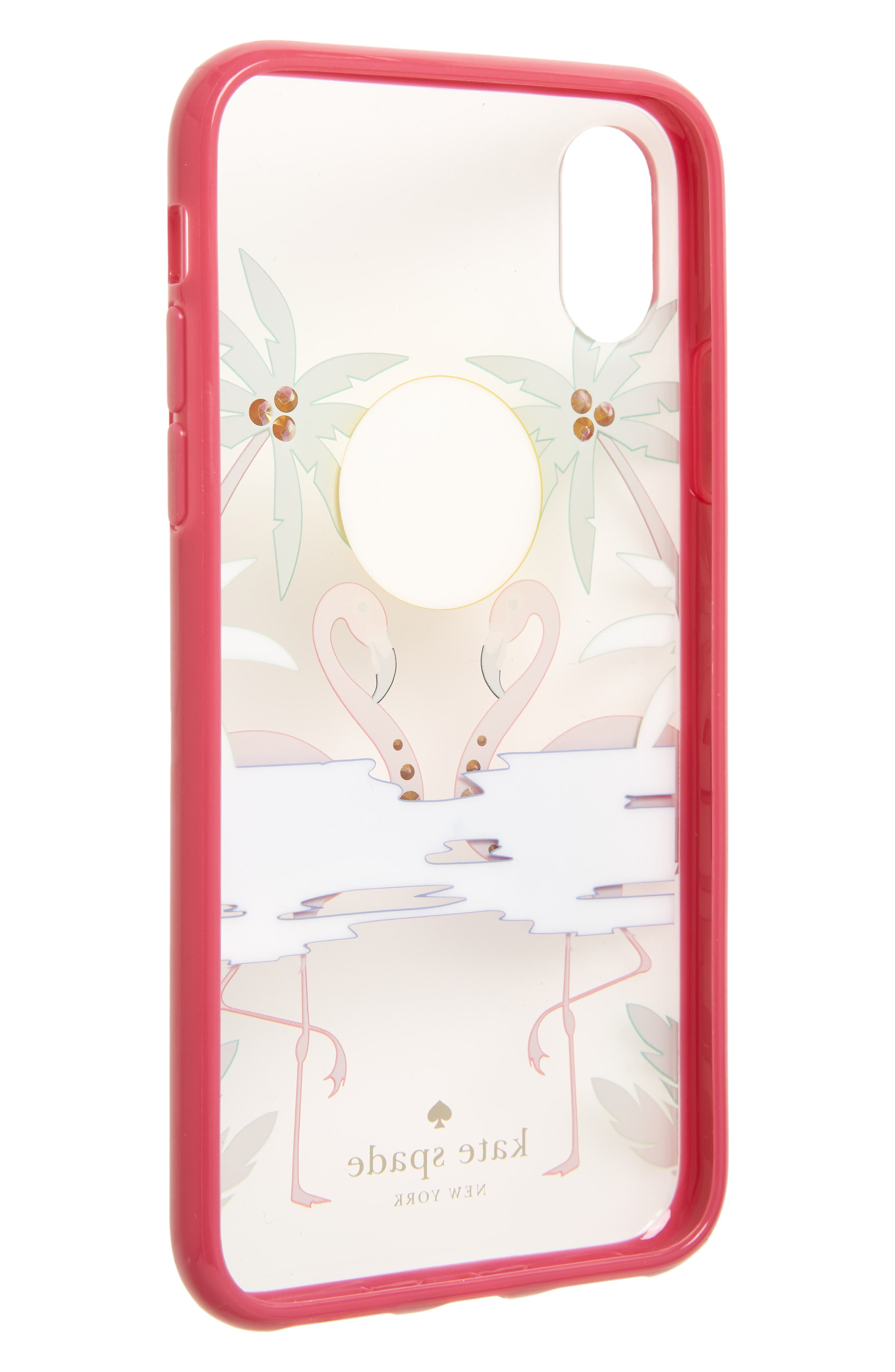 jeweled flamingos iPhone X case,                             Alternate thumbnail 2, color,                             Clear Multi
