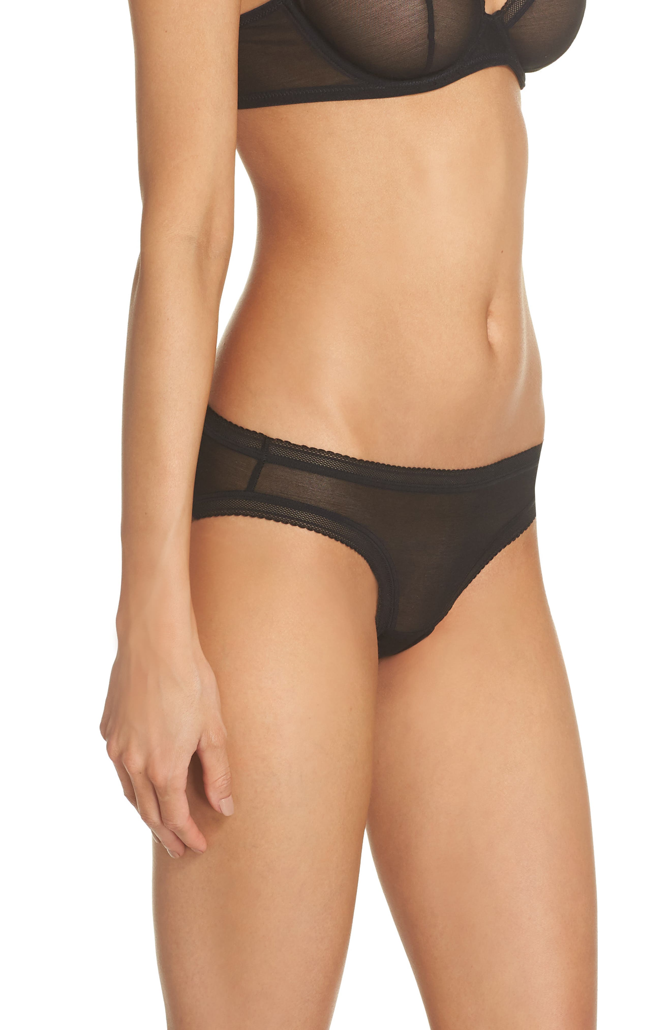 Mesh Bikini,                             Alternate thumbnail 3, color,                             Black