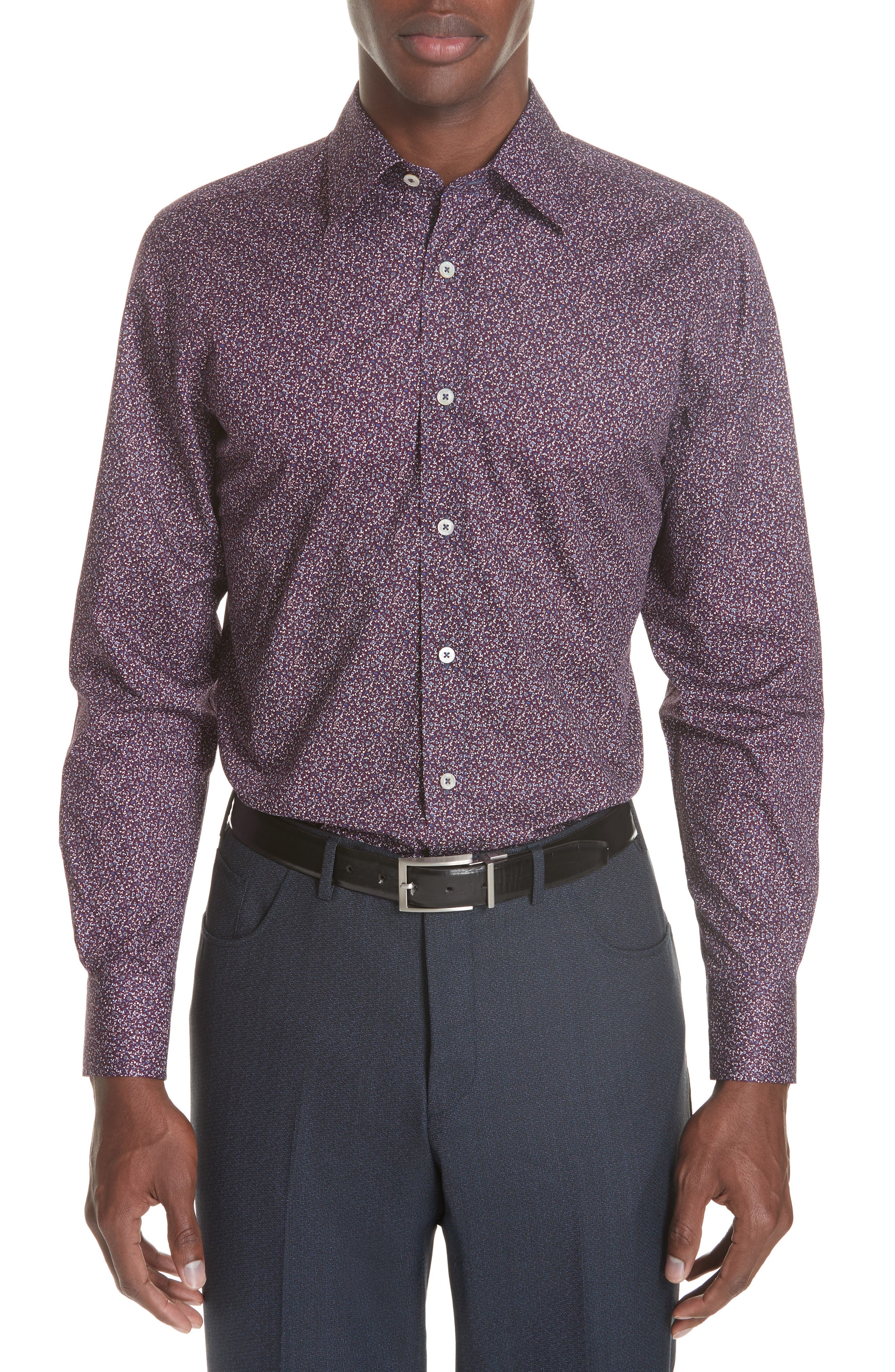 Classic Fit Floral Dress Shirt,                         Main,                         color, Dark Red
