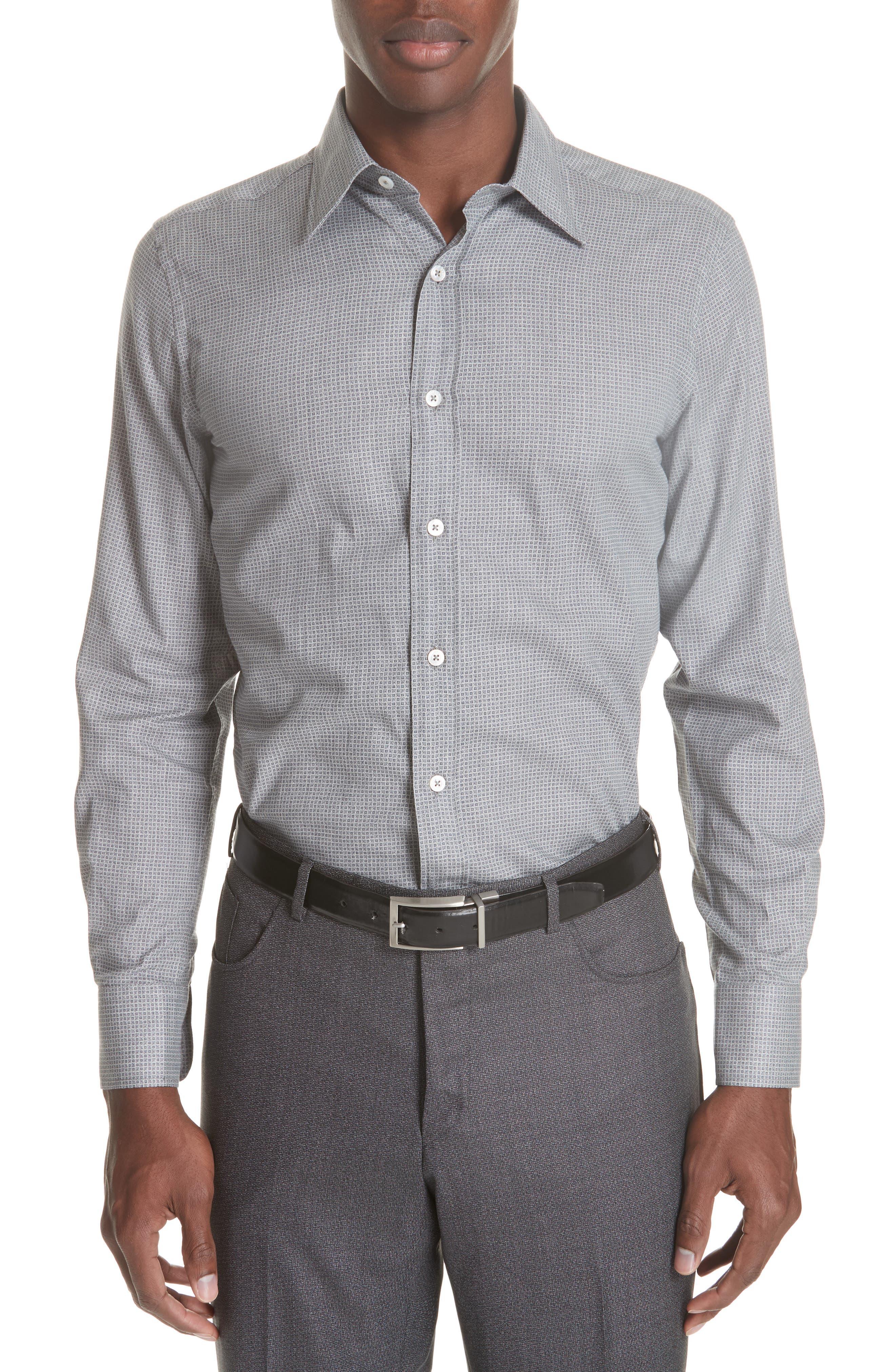 Classic Fit Geometric Dress Shirt,                         Main,                         color, Grey