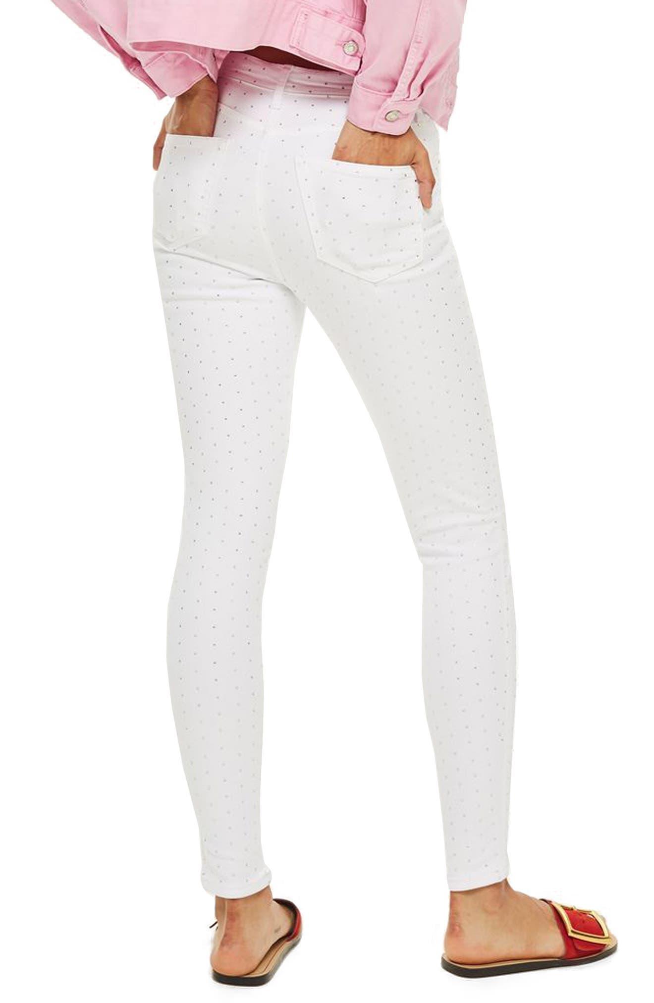 Jamie Diamante Skinny Jeans,                             Alternate thumbnail 2, color,                             White