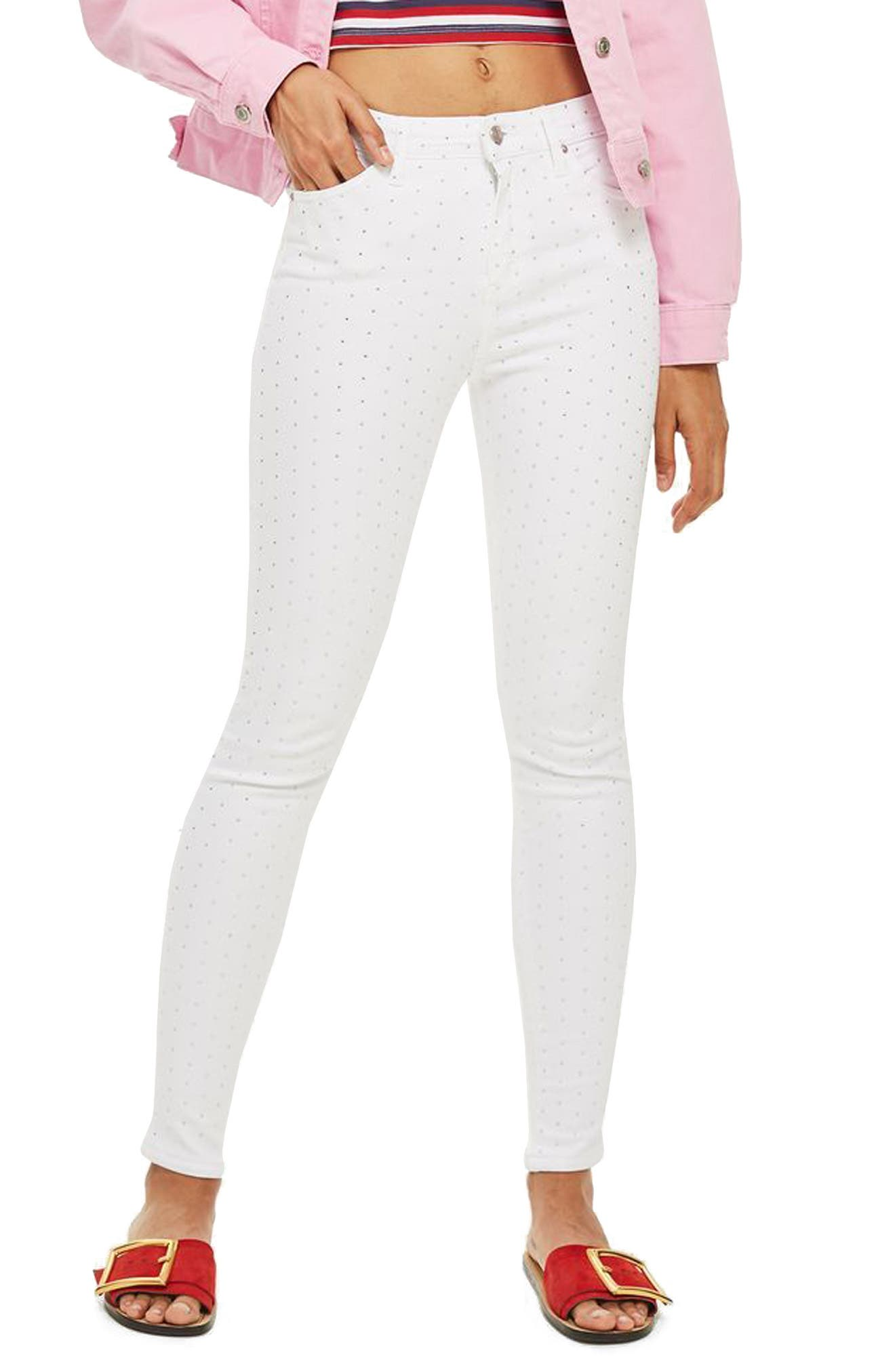 Jamie Diamante Skinny Jeans,                             Main thumbnail 1, color,                             White