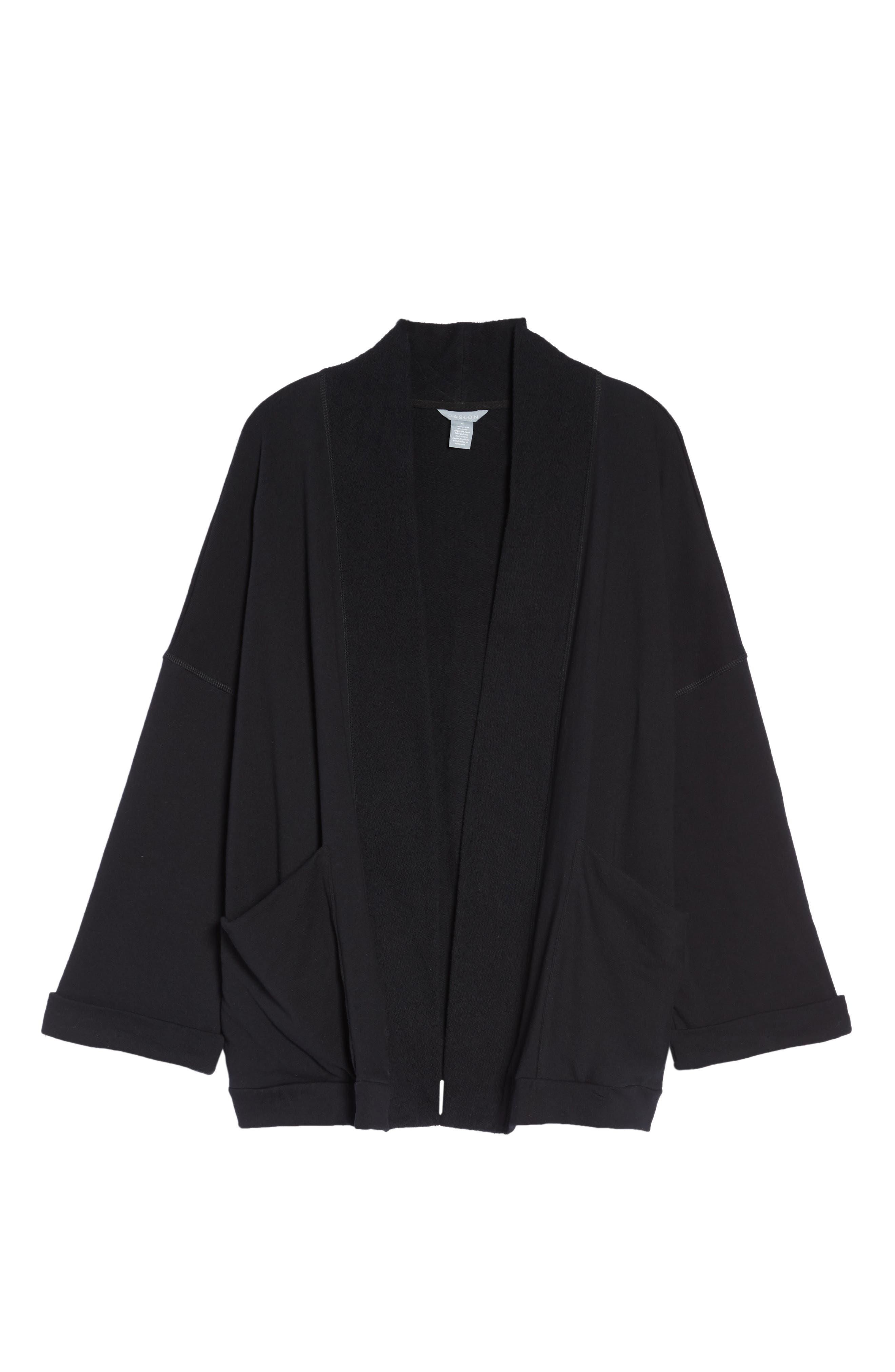 Knit Roll Sleeve Blazer,                             Alternate thumbnail 5, color,                             Black