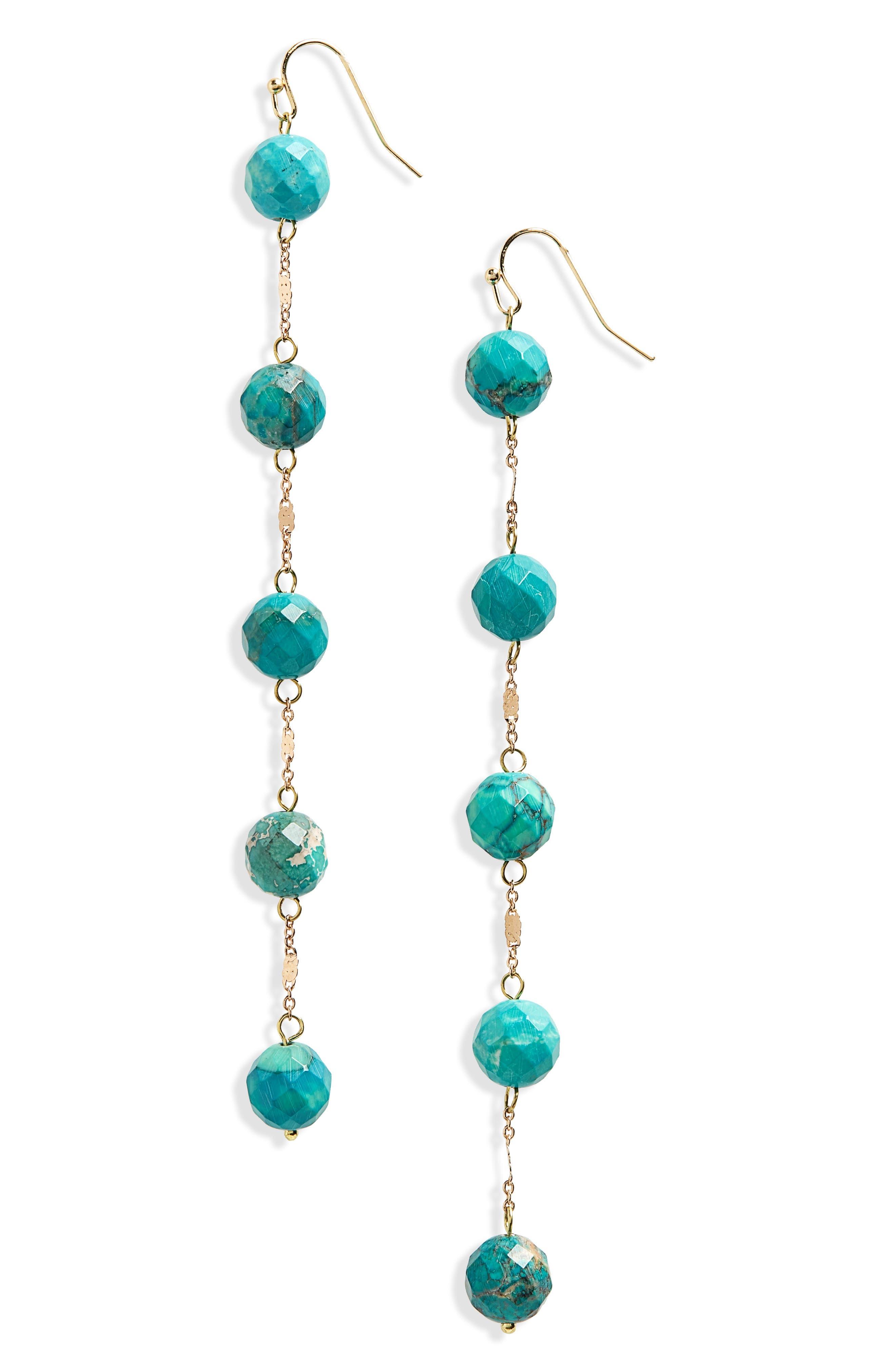 Linear Stone Earrings,                             Main thumbnail 1, color,                             Turquoise