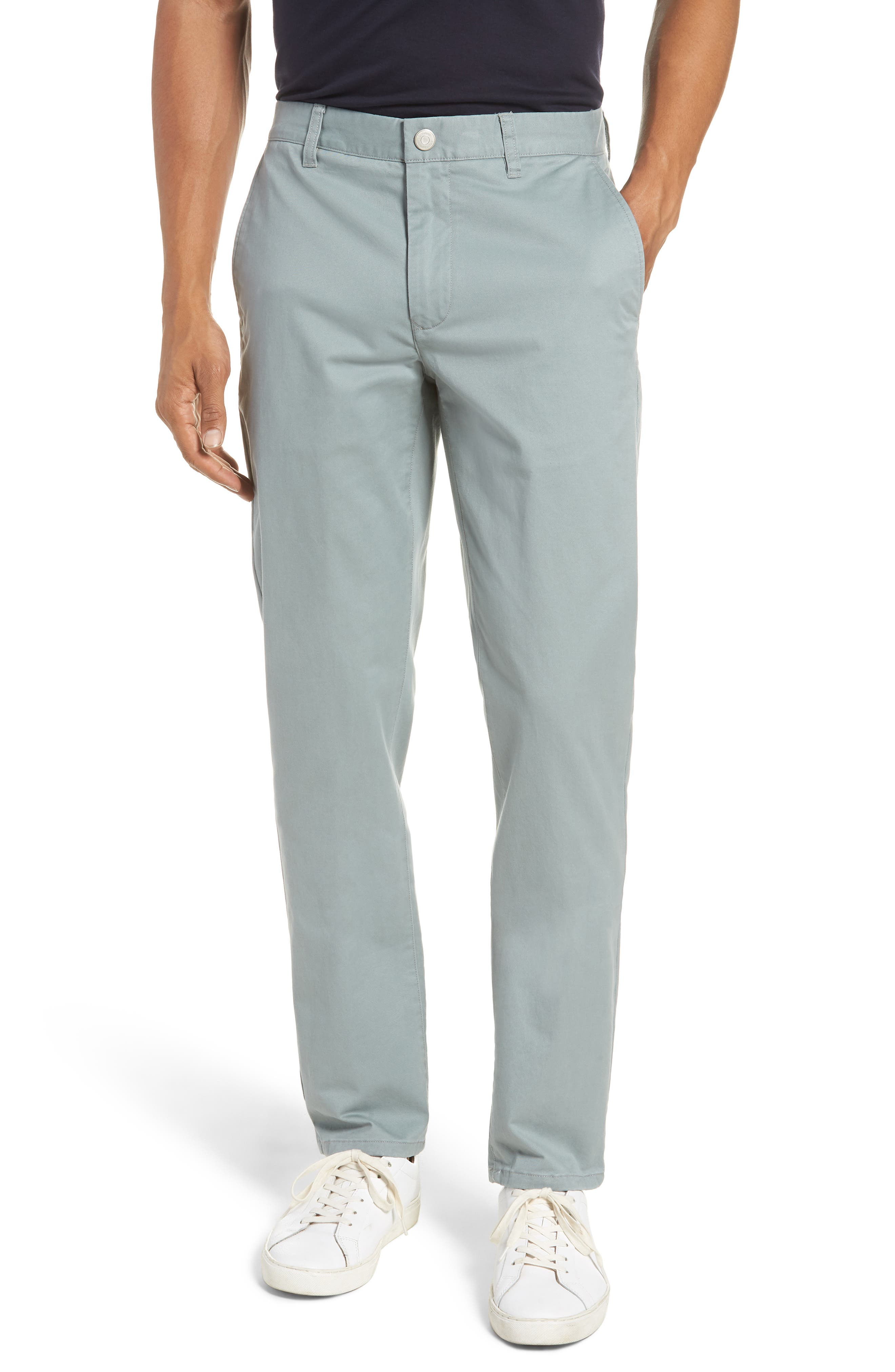 Tailored Fit Washed Stretch Cotton Chinos,                         Main,                         color, Rye Grass