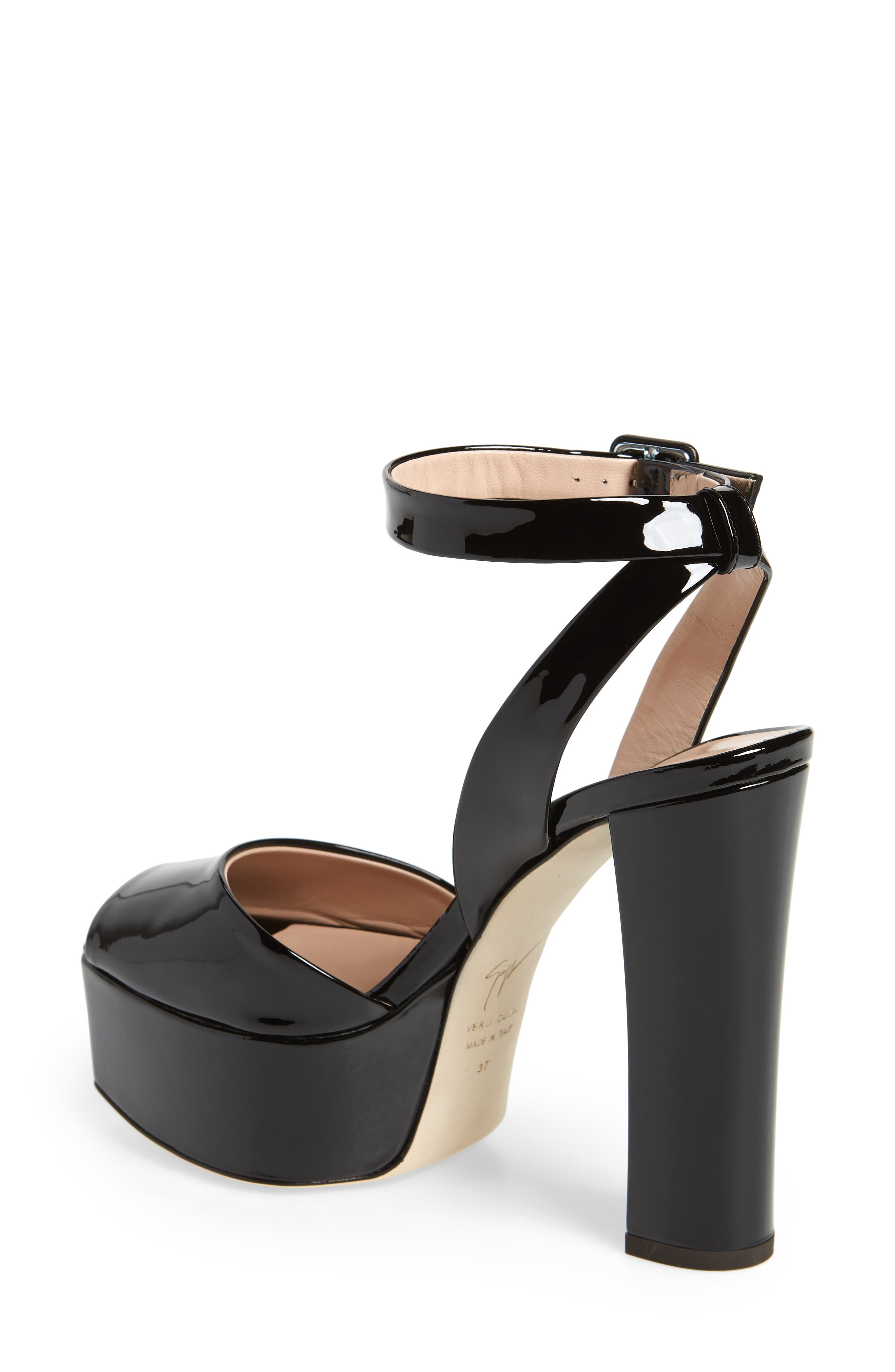 Lavinia Platform Sandal,                             Alternate thumbnail 2, color,                             Black Patent