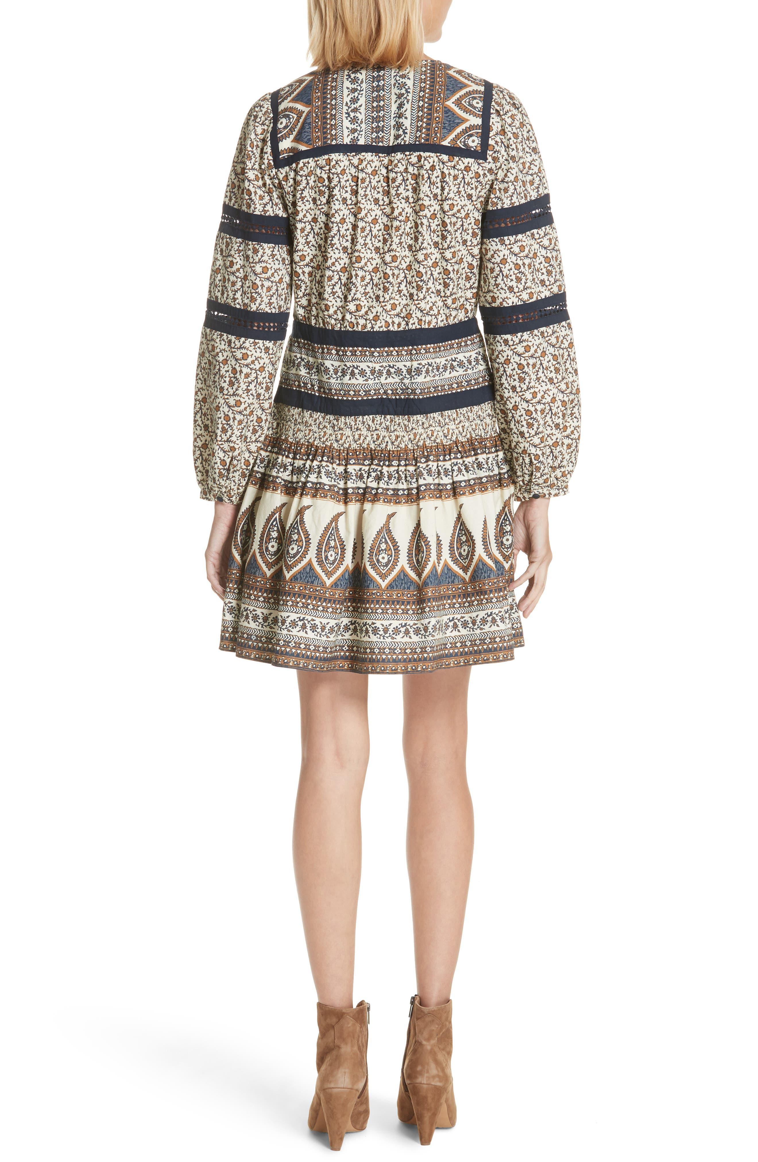 Contrast Binding Print Dress,                             Alternate thumbnail 2, color,                             Cafe