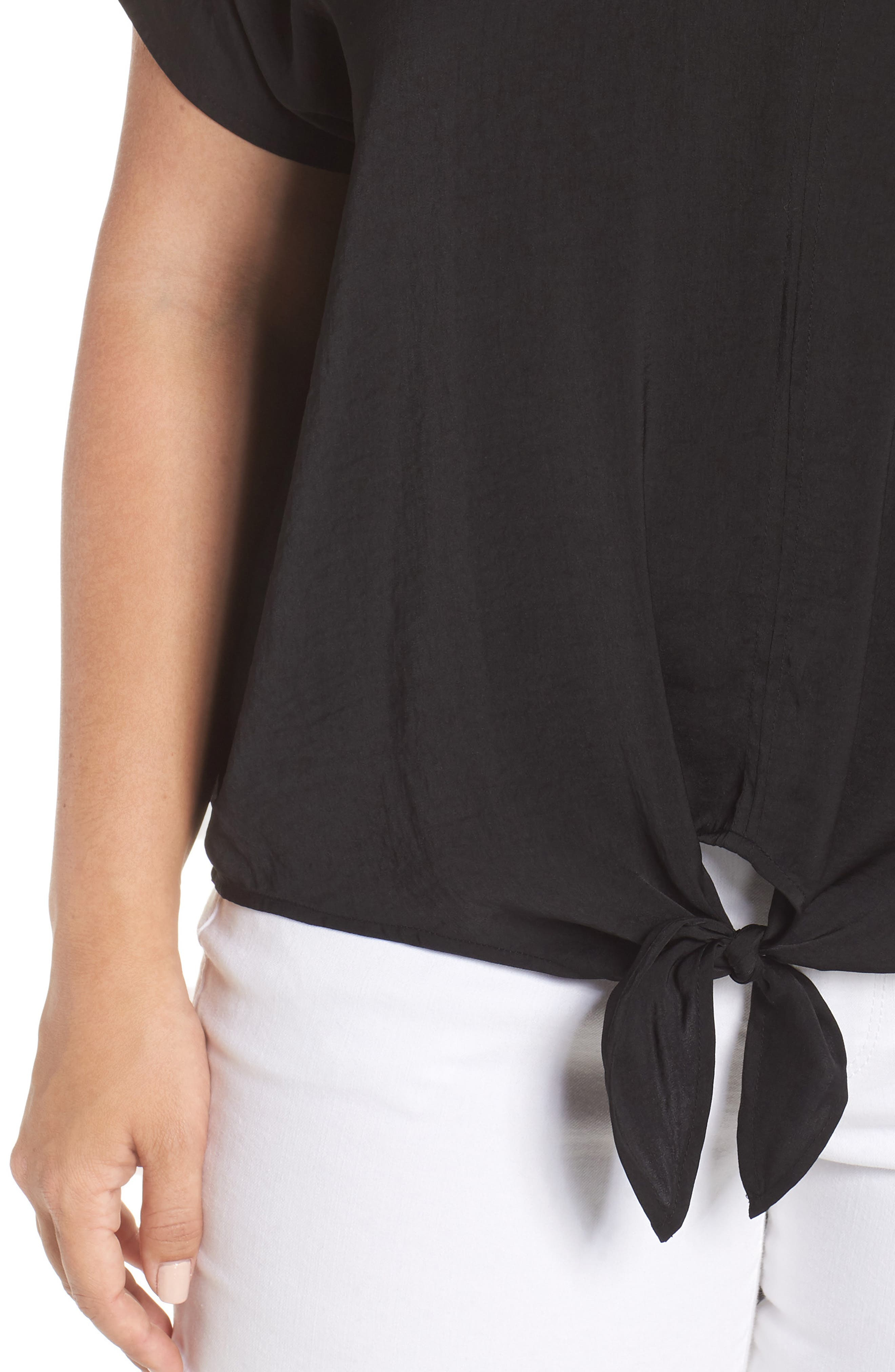 Tie Front Satin Top,                             Alternate thumbnail 4, color,                             Lucky Black