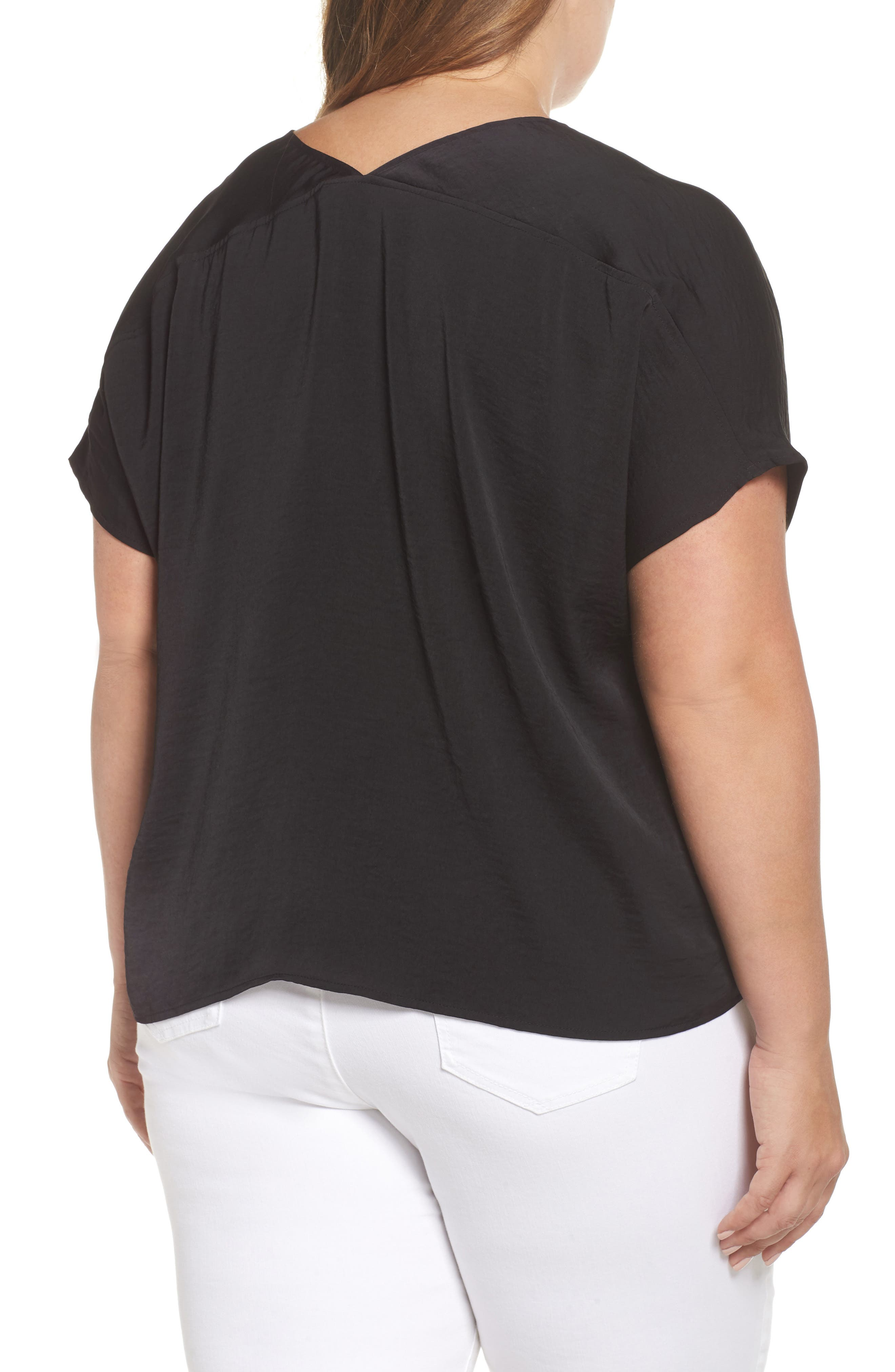 Tie Front Satin Top,                             Alternate thumbnail 2, color,                             Lucky Black