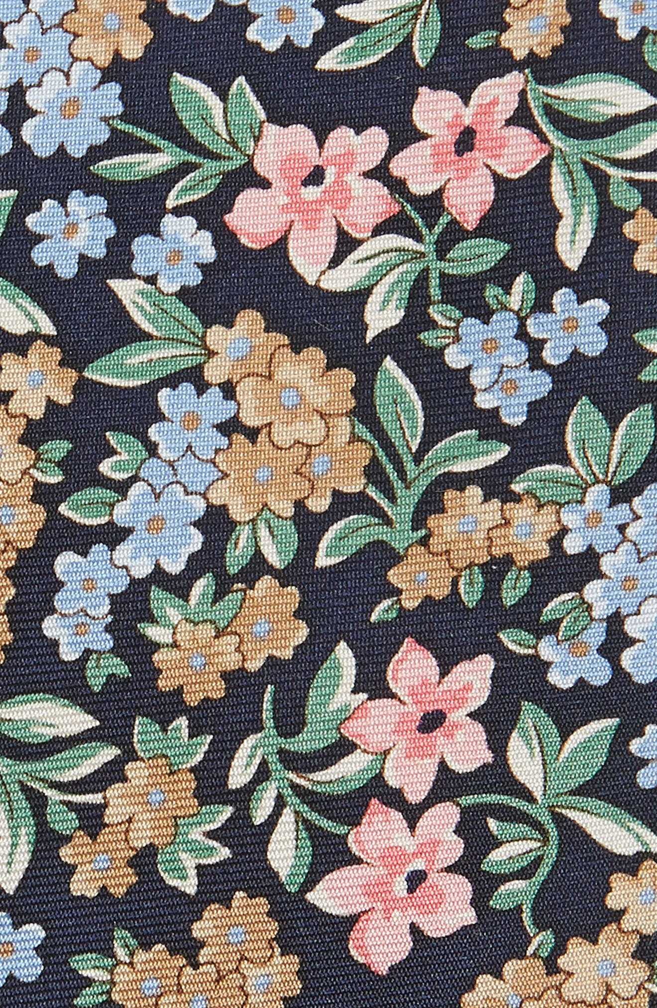 Cassidy Floral Silk Skinny Tie,                             Alternate thumbnail 2, color,                             Navy