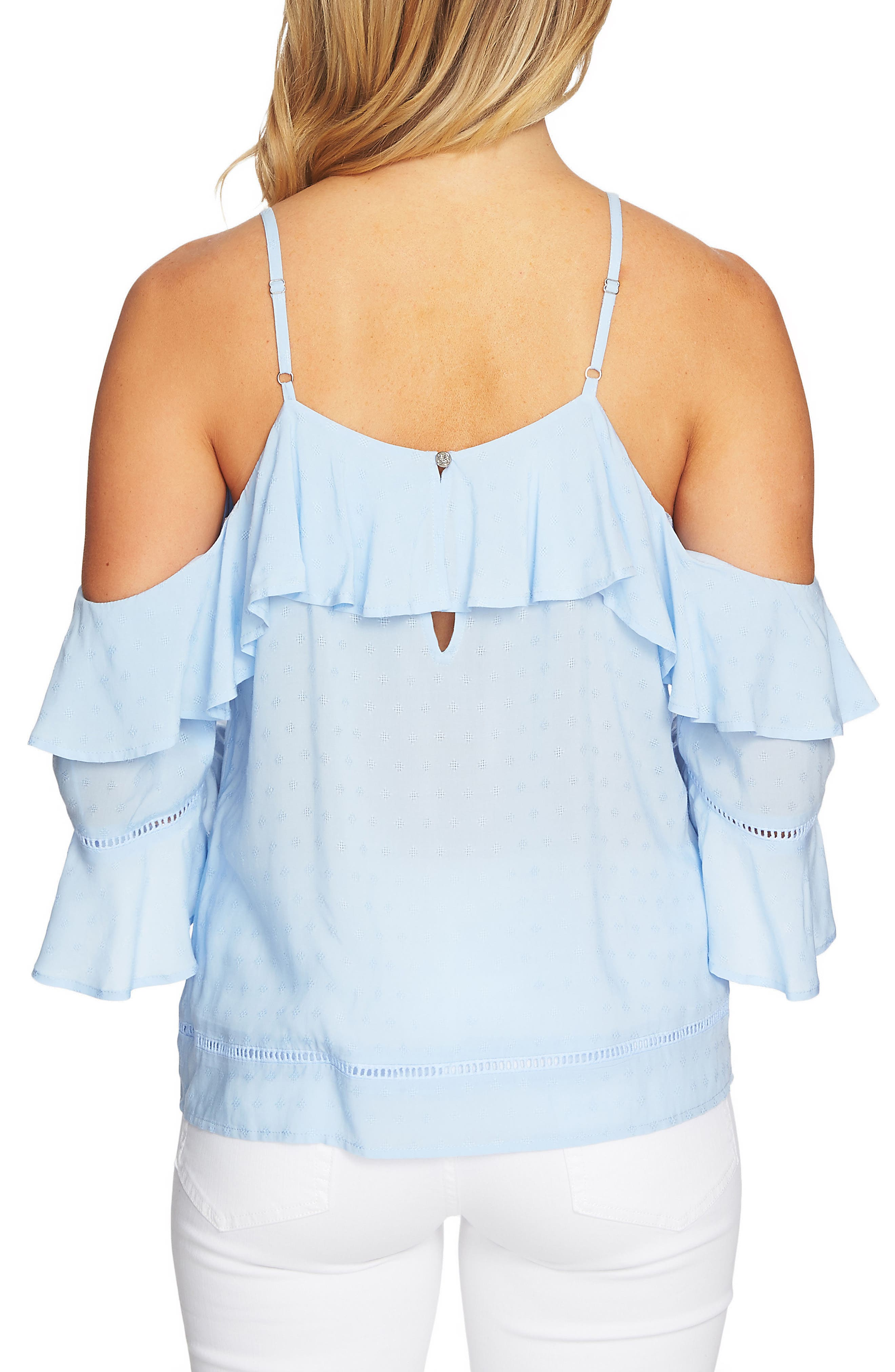 Ruffled Cold Shoulder Blouse,                             Alternate thumbnail 2, color,                             Blue Bird