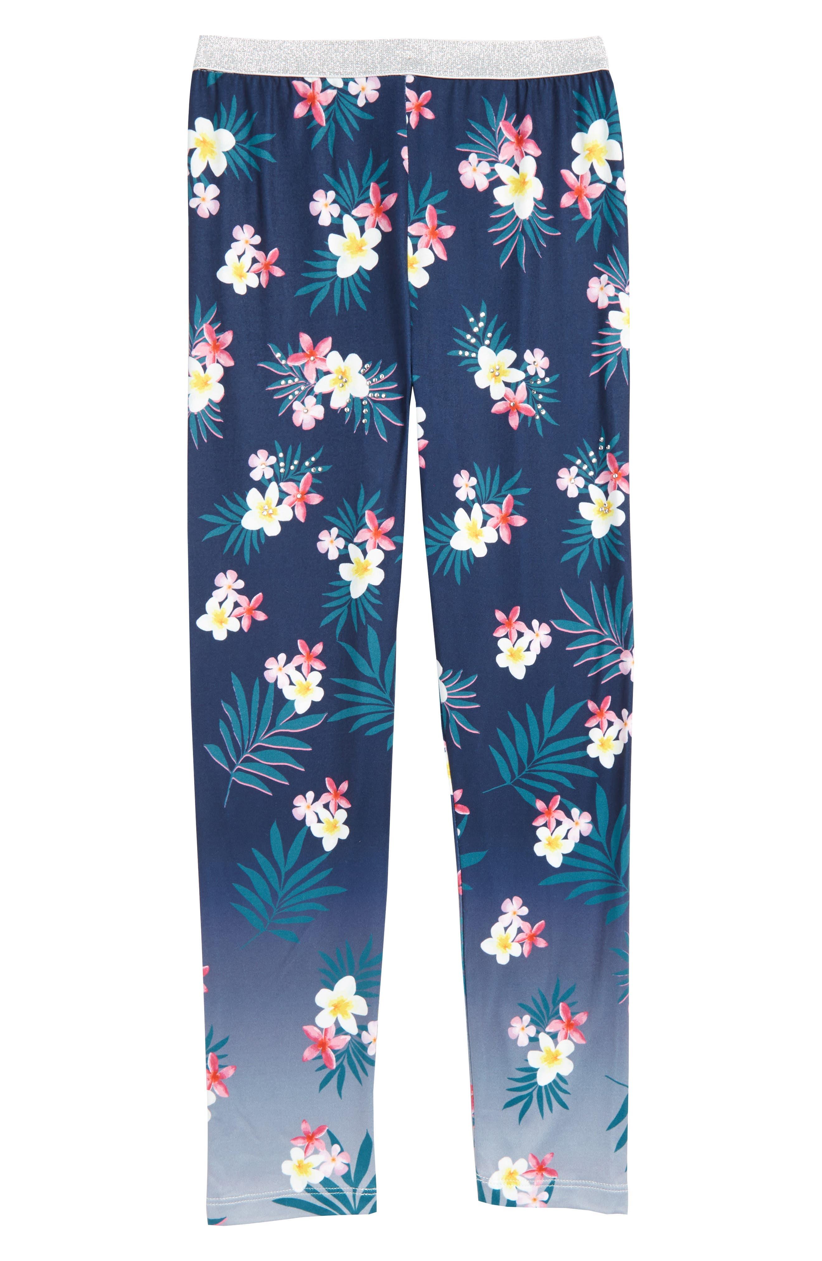 Embellished Floral Print Leggings,                             Main thumbnail 1, color,                             Navy