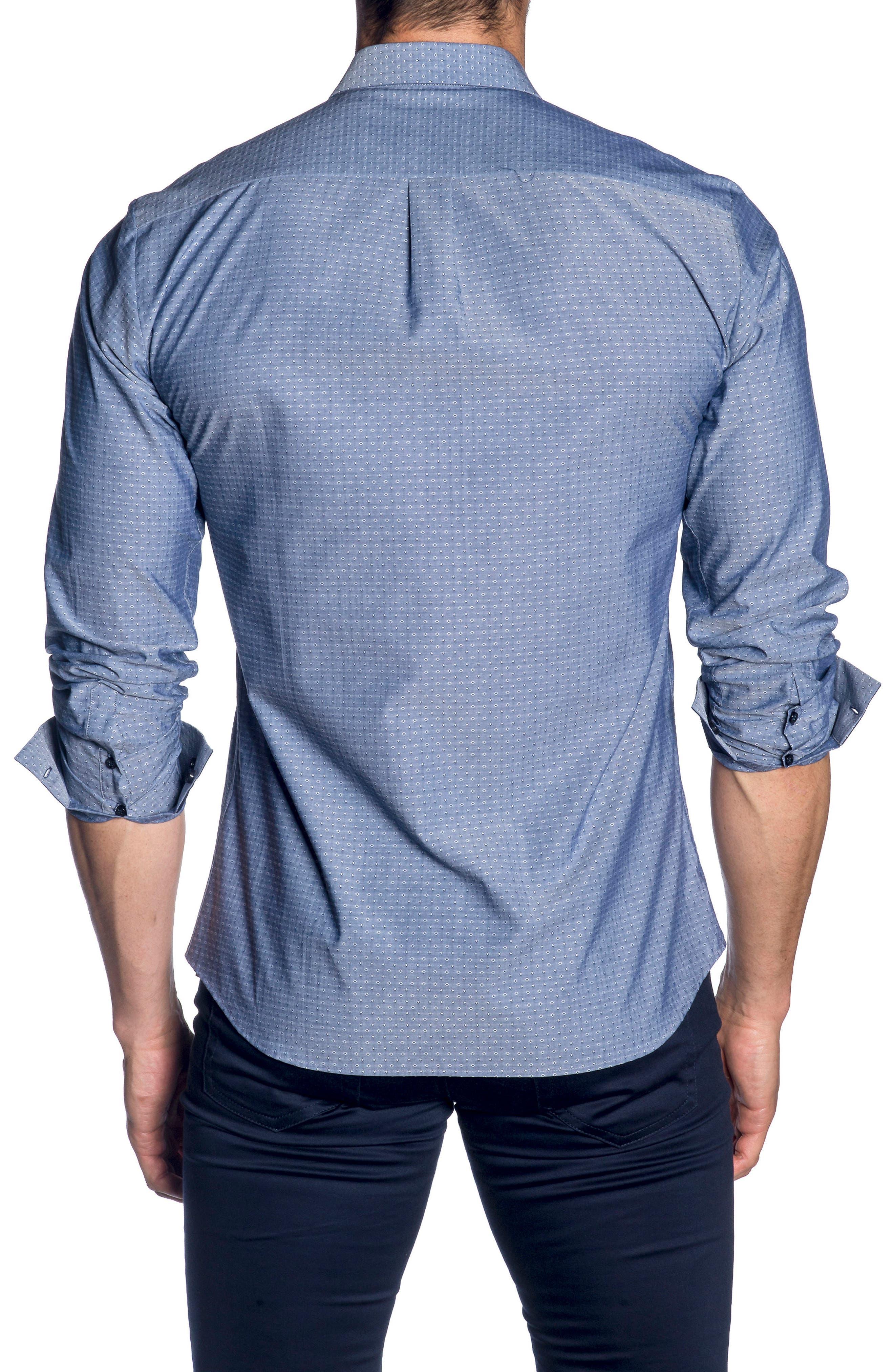 Trim Fit Sport Shirt,                             Alternate thumbnail 2, color,                             Navy Chambery