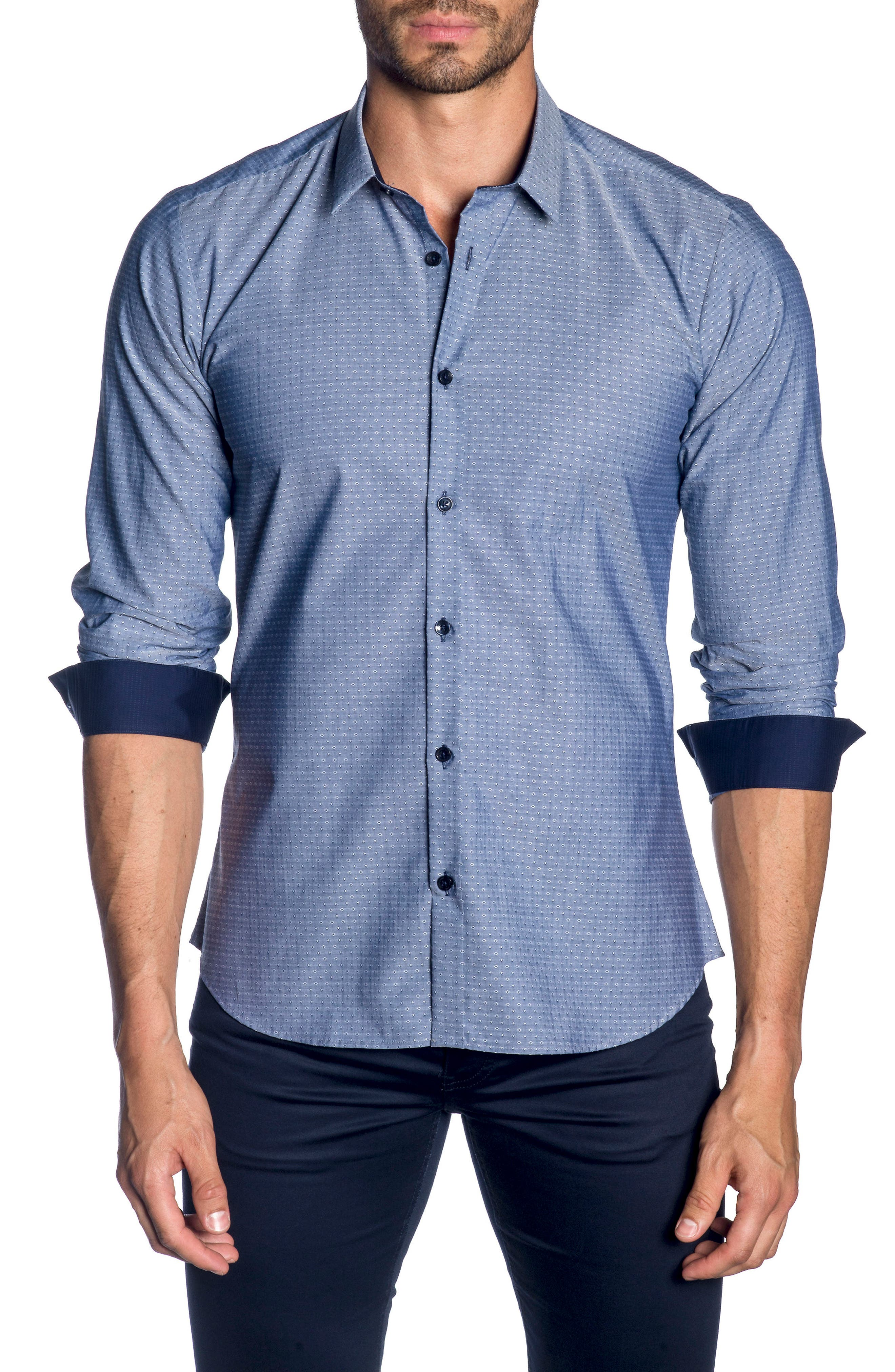 Trim Fit Sport Shirt,                         Main,                         color, Navy Chambery