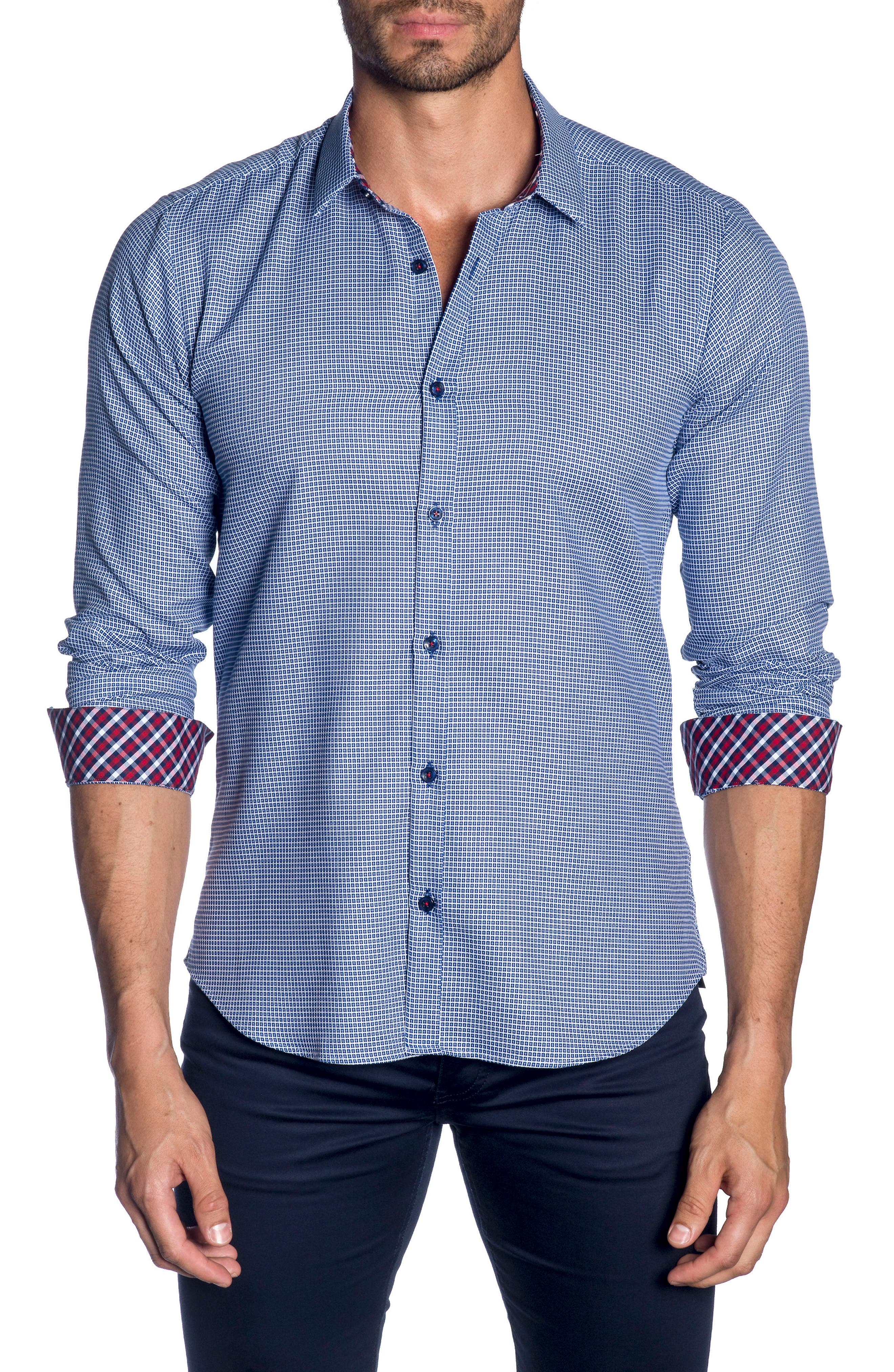 Trim Fit Sport Shirt,                         Main,                         color, French Blue  White