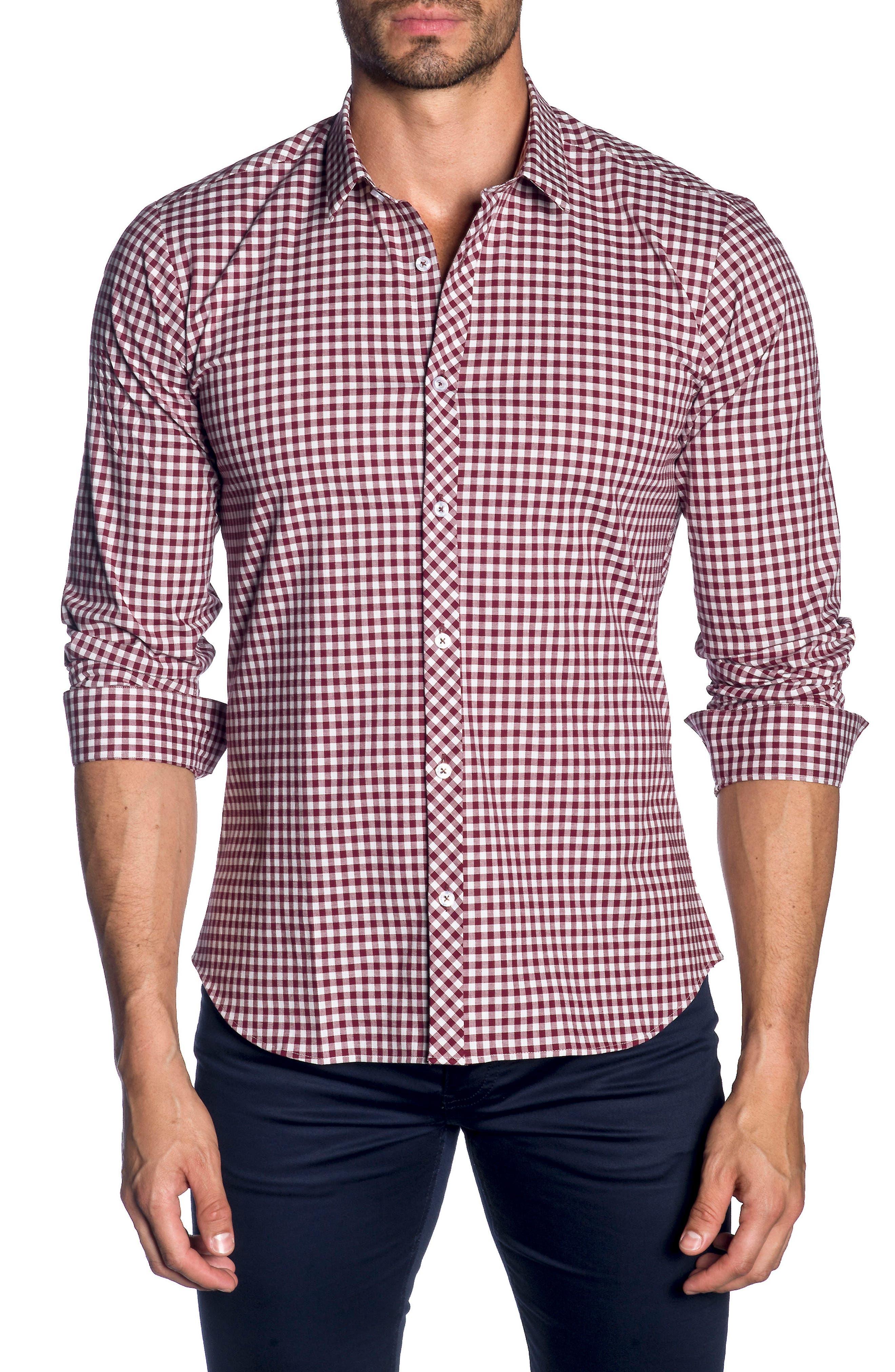 Trim Fit Sport Shirt,                         Main,                         color, Heather Grey Bordeaux Check
