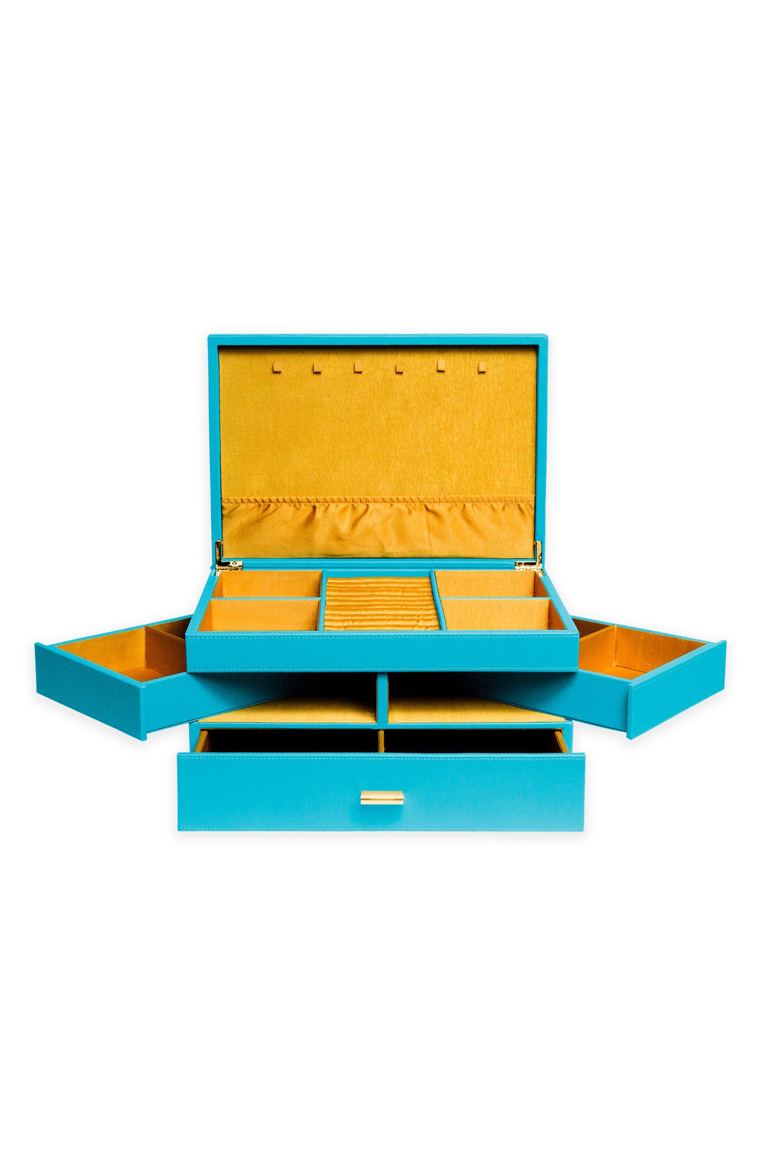 Large Jewelry Box,                             Alternate thumbnail 2, color,                             Turquoise/ Citron