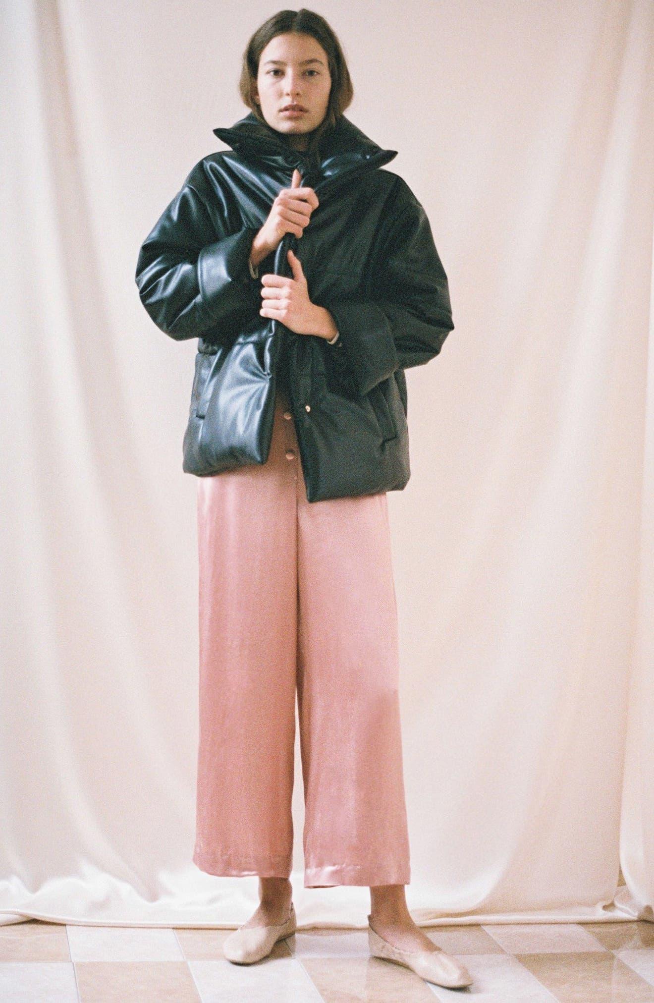 Hide Faux Leather Puffer Jacket,                             Alternate thumbnail 8, color,                             Black