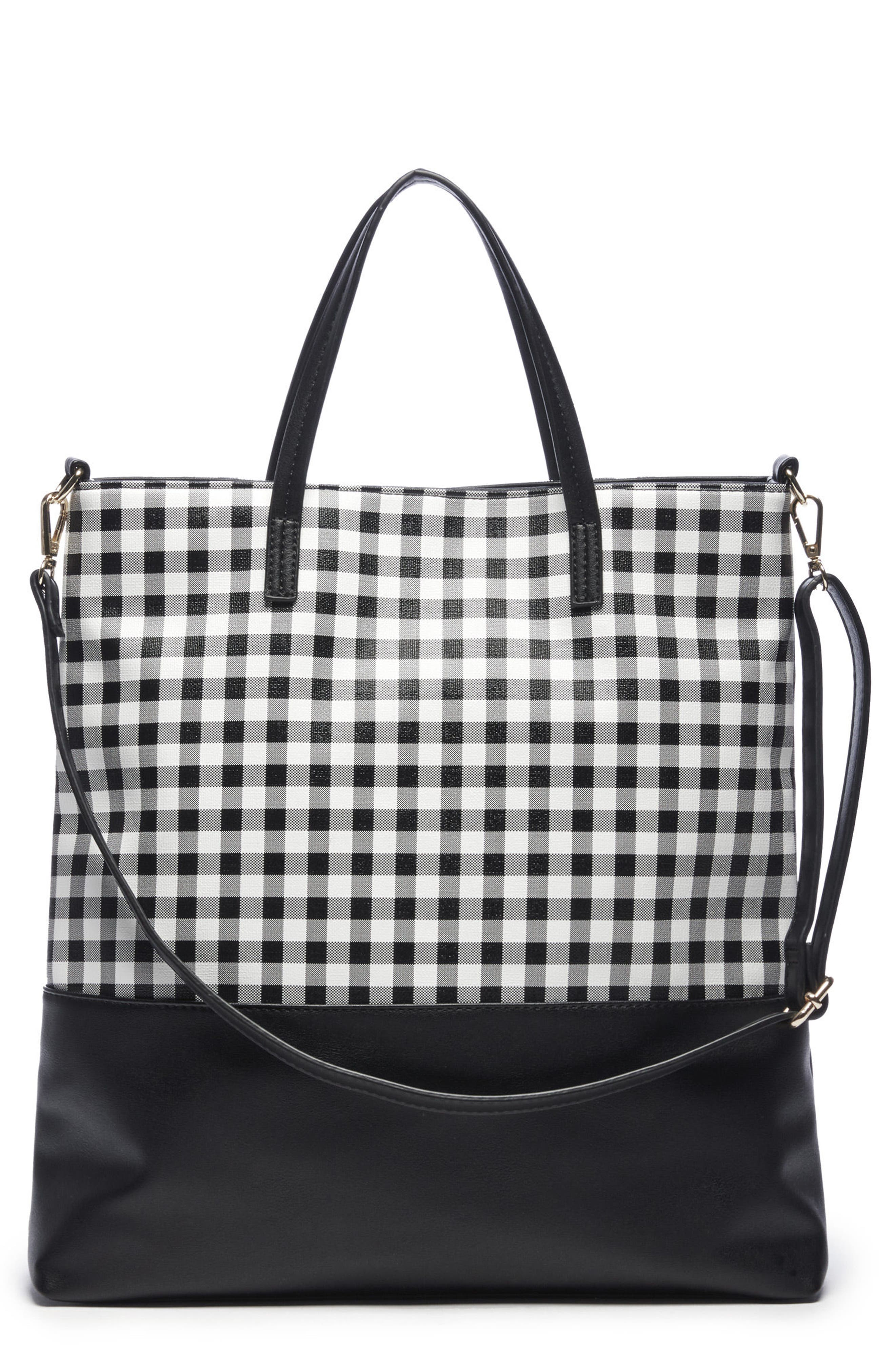 Gingham Faux Leather Tote,                             Main thumbnail 1, color,                             Black/ White