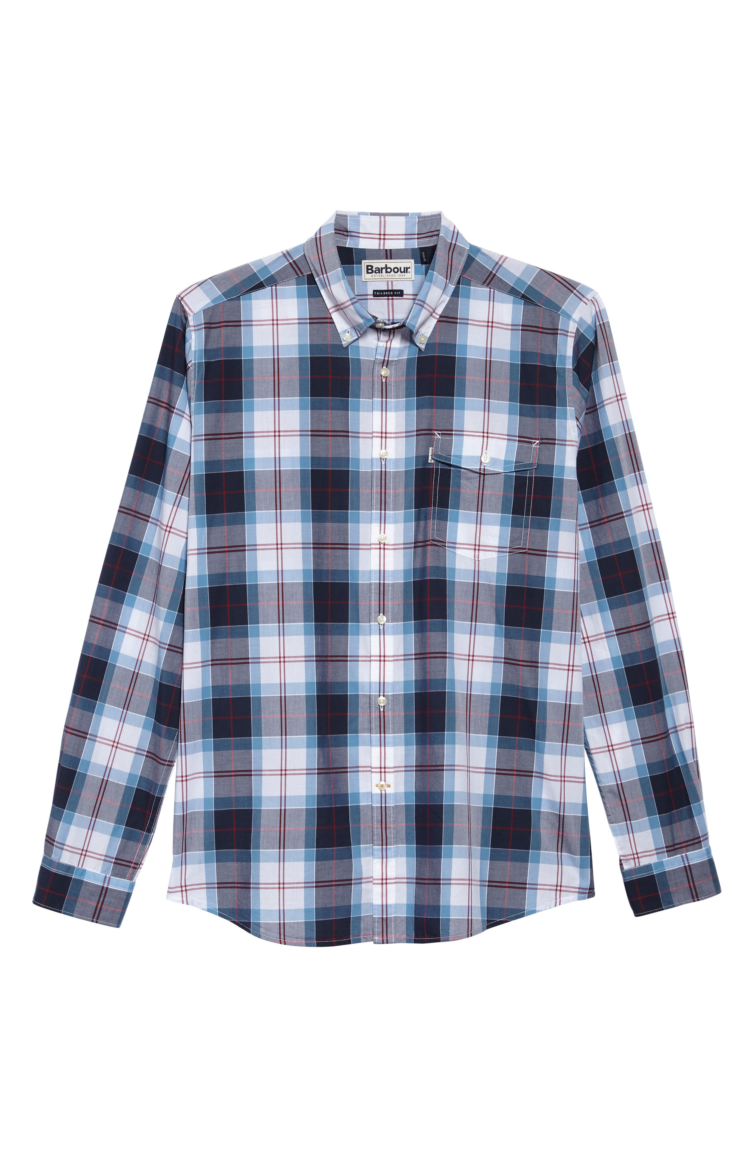 Cabin Tailored Fit Plaid Sport Shirt,                             Alternate thumbnail 5, color,                             Mid Blue