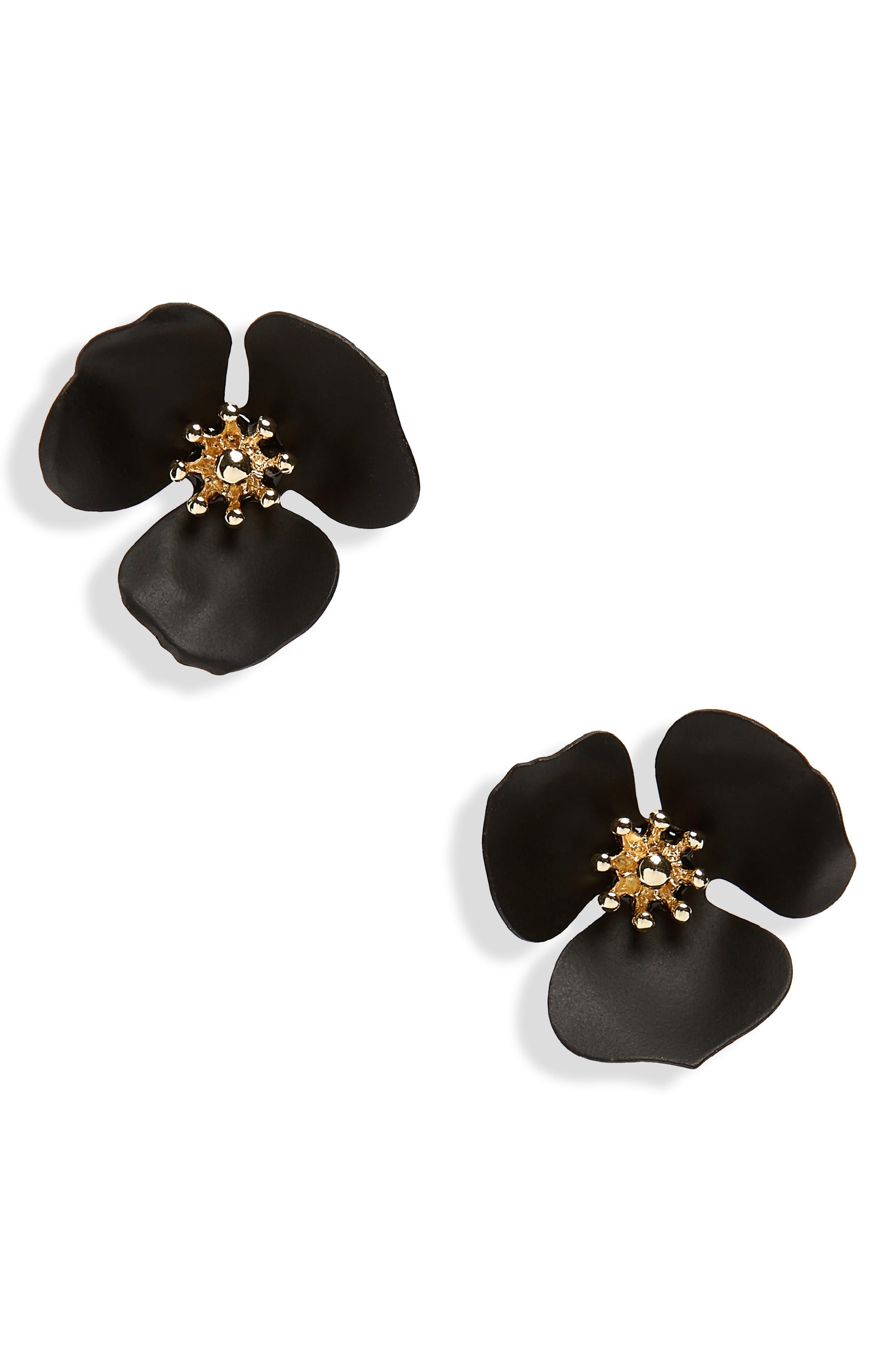 Lily Flower Stud Earrings,                             Main thumbnail 1, color,                             Black