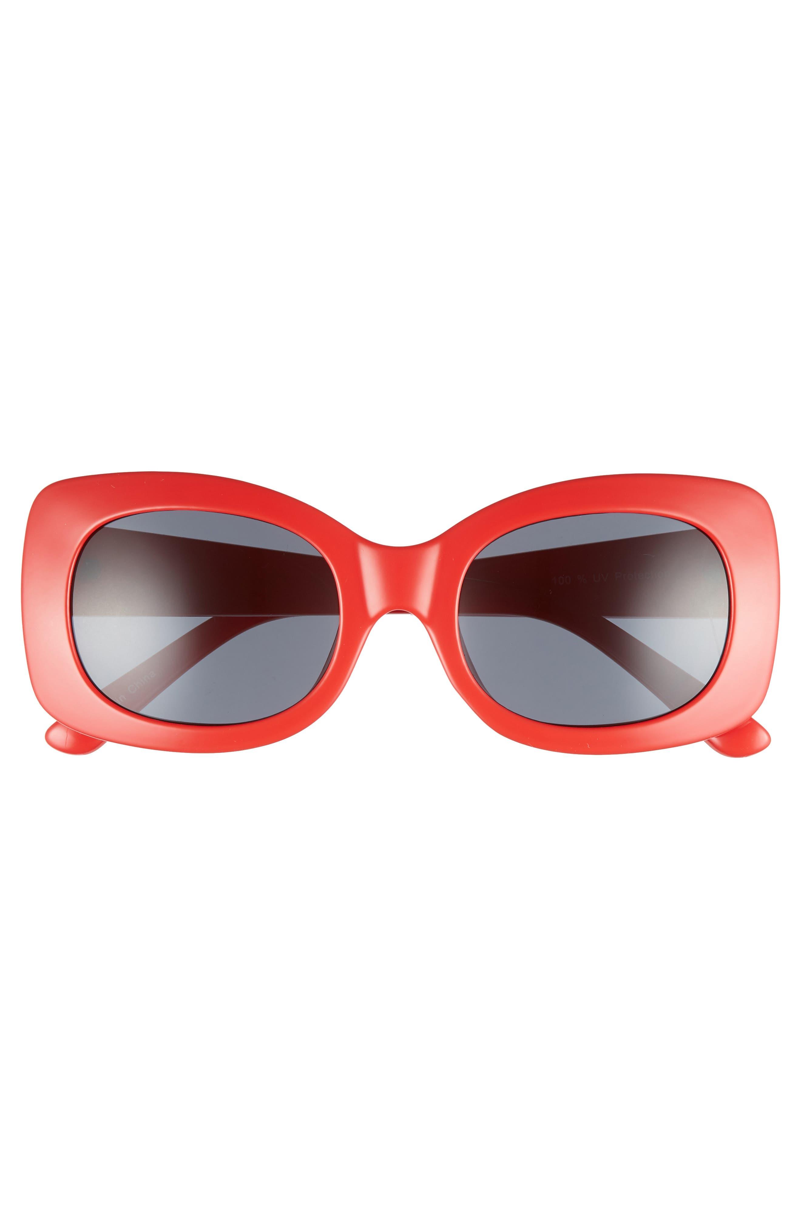 51mm Square Sunglasses,                             Alternate thumbnail 3, color,                             Red/ Black