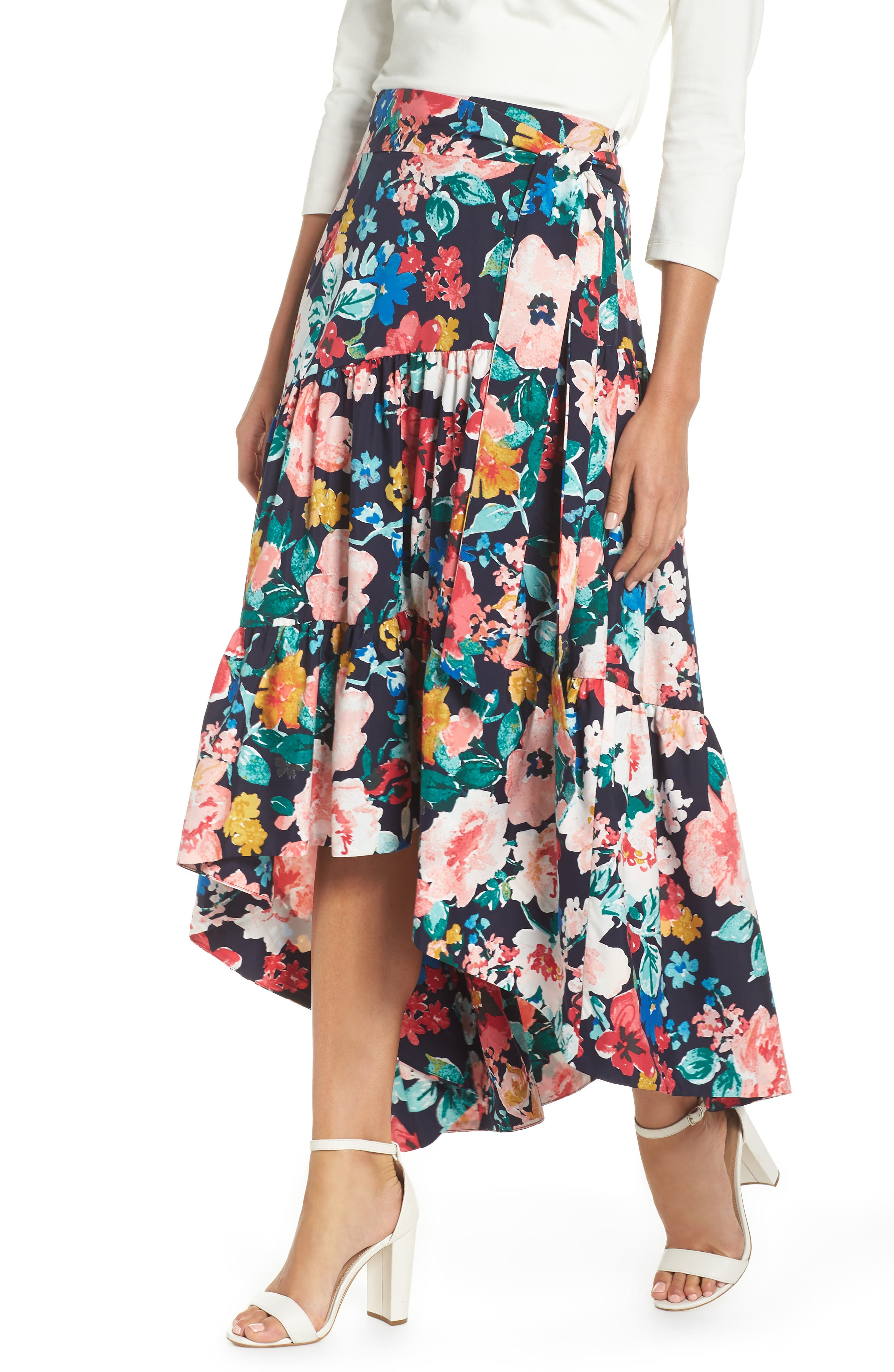 High/Low Tiered Skirt,                         Main,                         color, Navy