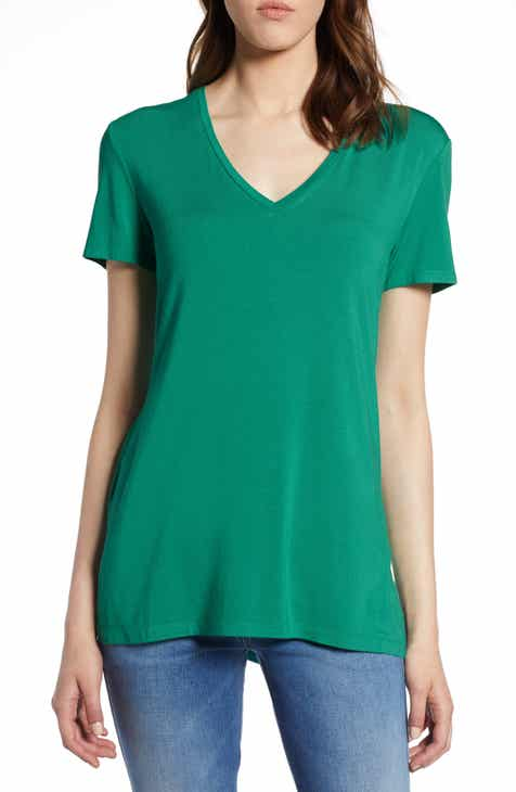 a830605e2089e Halogen® V-Neck Tunic Tee (Regular   Petite)