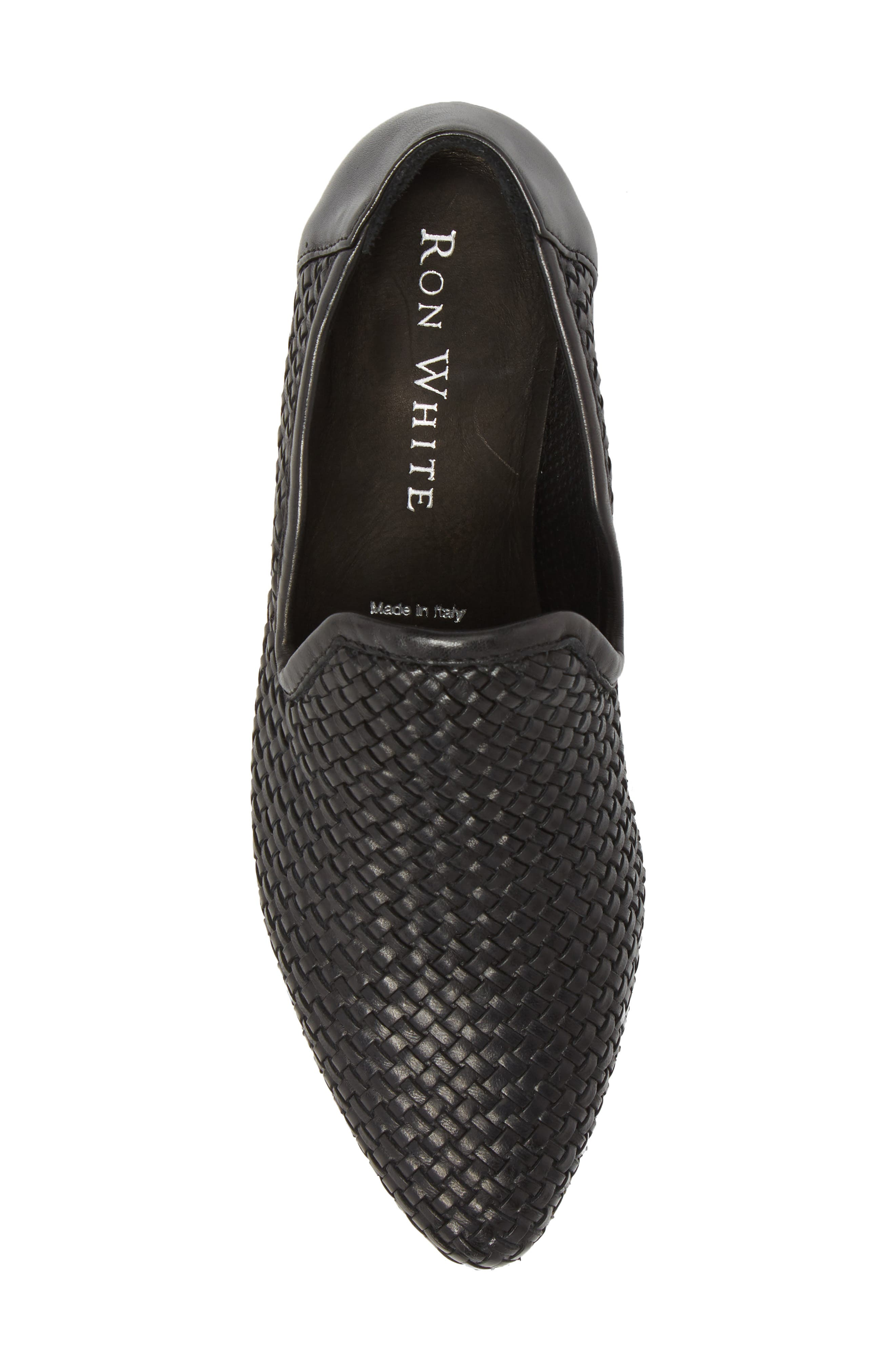 Yara Woven Slip-On Loafer,                             Alternate thumbnail 5, color,                             Onyx Leather